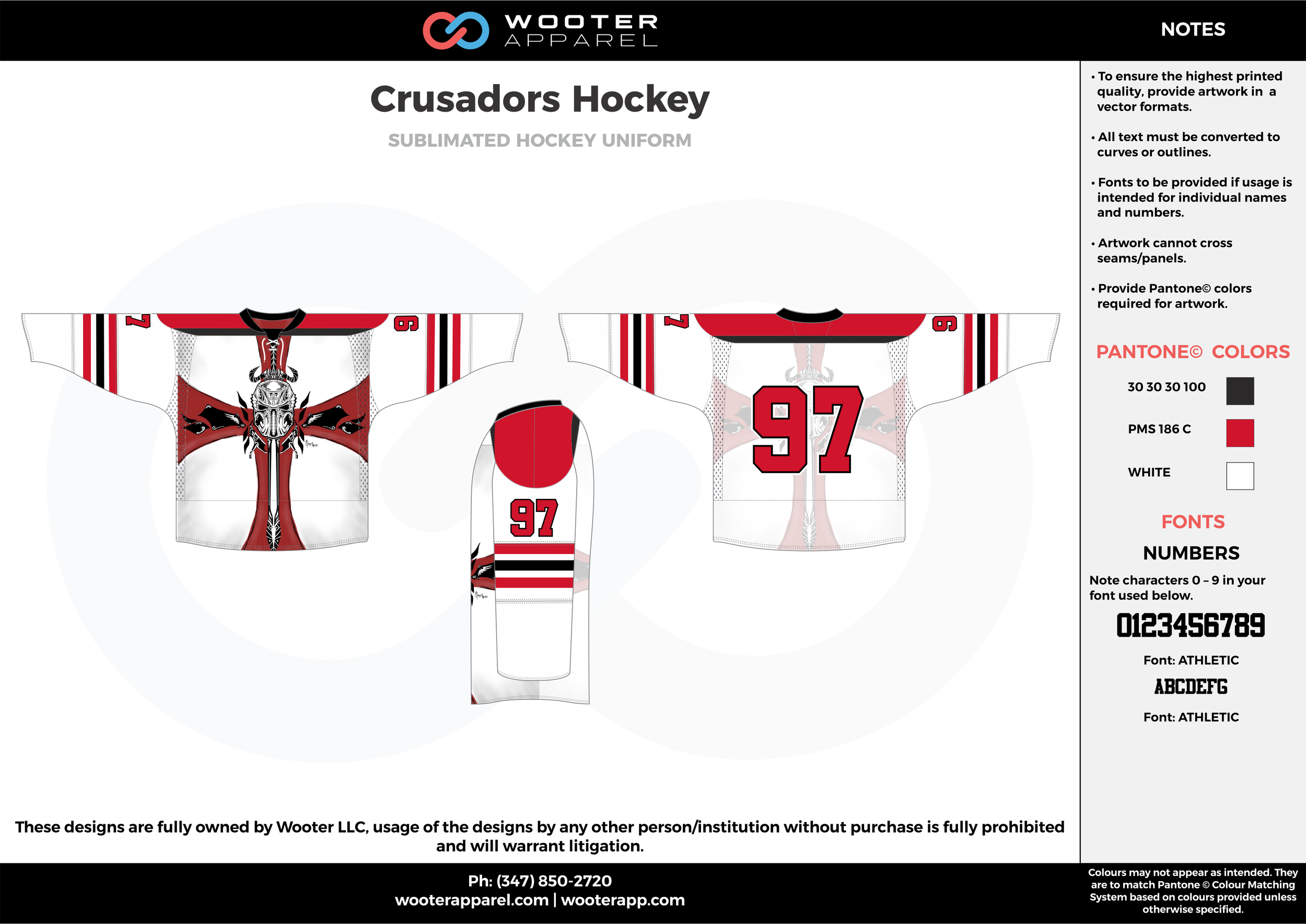 Crusadors Hockey white red black hockey uniforms jerseys