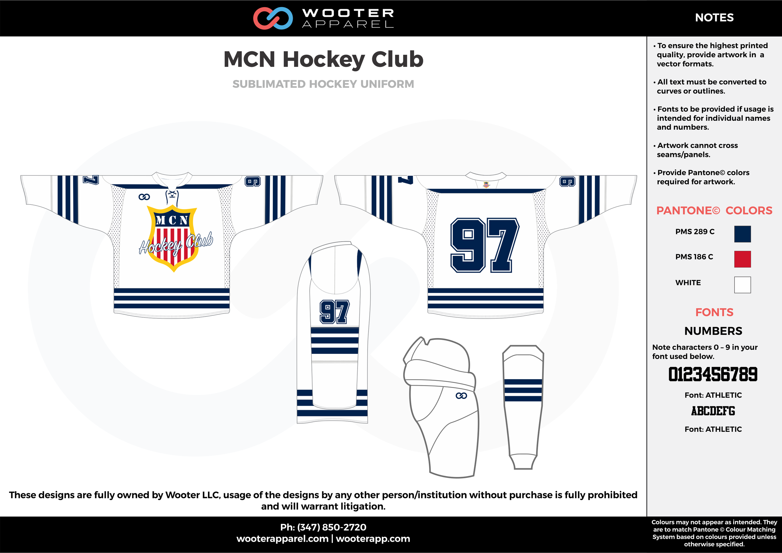 MCN Hockey Club blue white red hockey uniforms jerseys socks