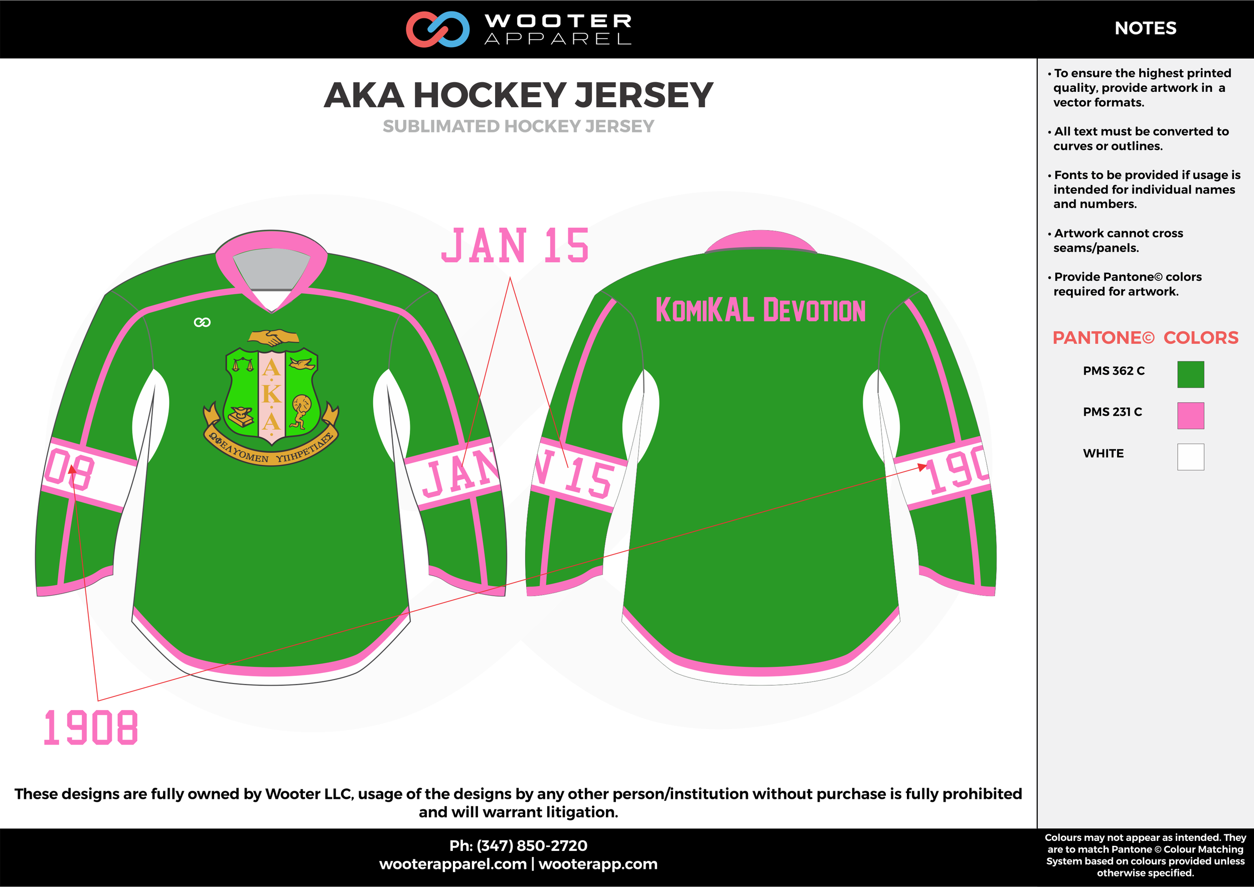 AKA HOCKEY JERSEY green pink white hockey uniforms jerseys