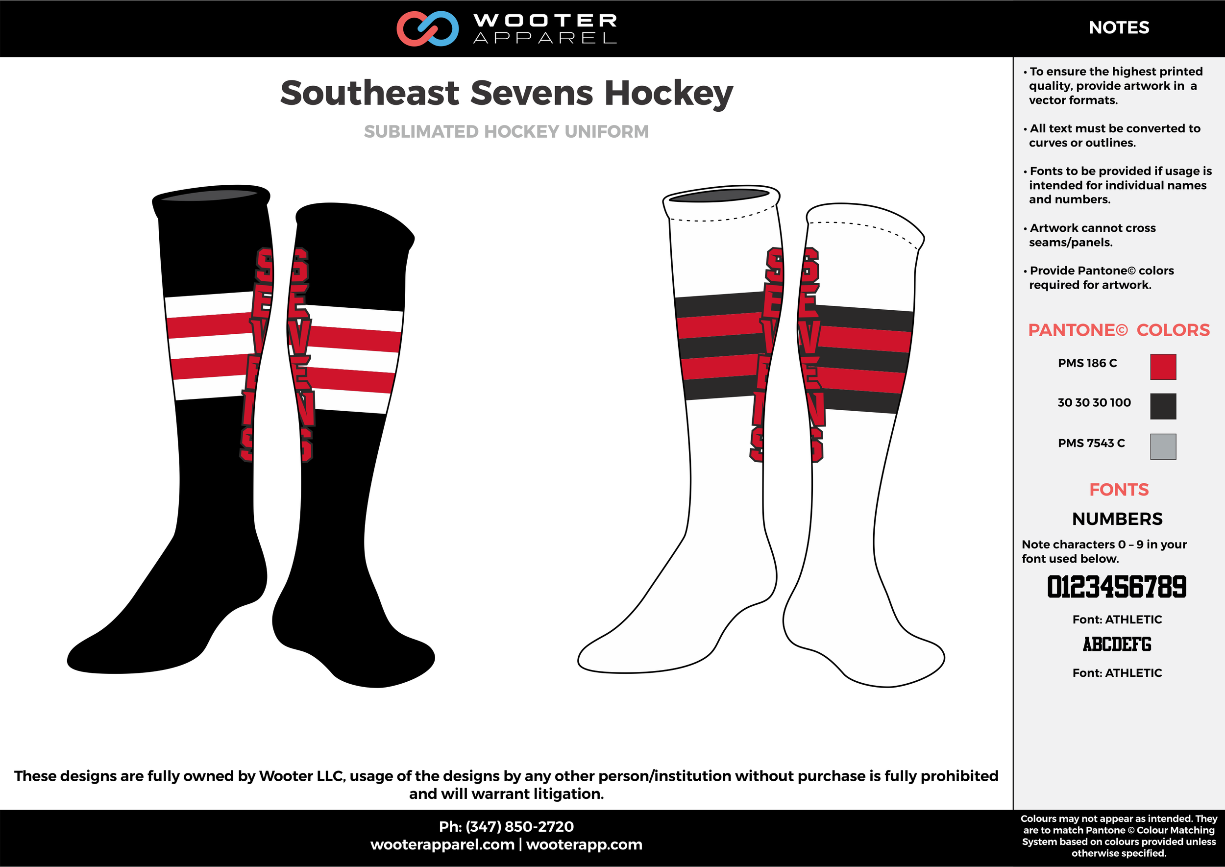 Southeast Sevens Hockey white black red hockey uniforms socks