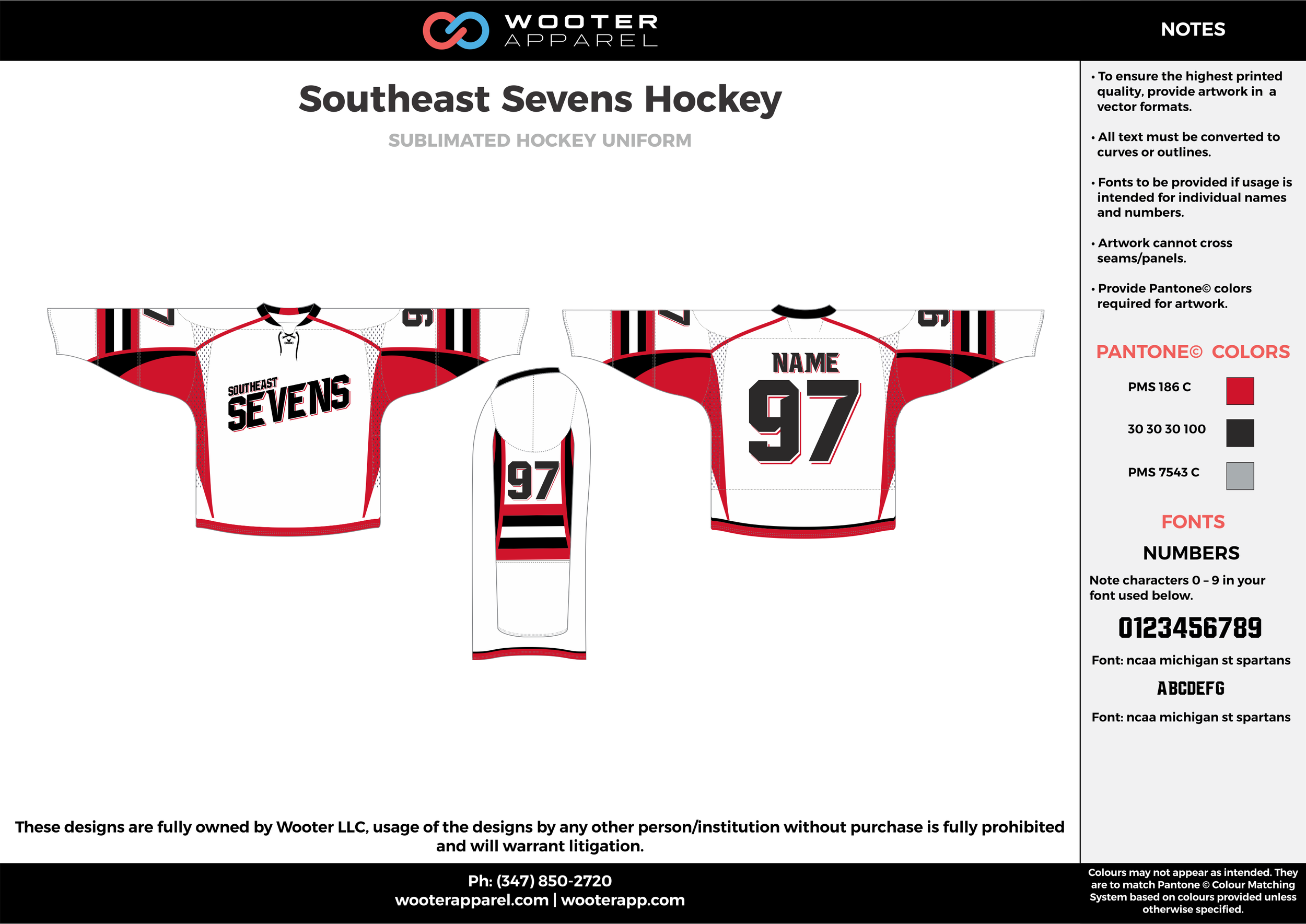 Southeast Sevens Hockey red white gray black hockey uniforms jerseys