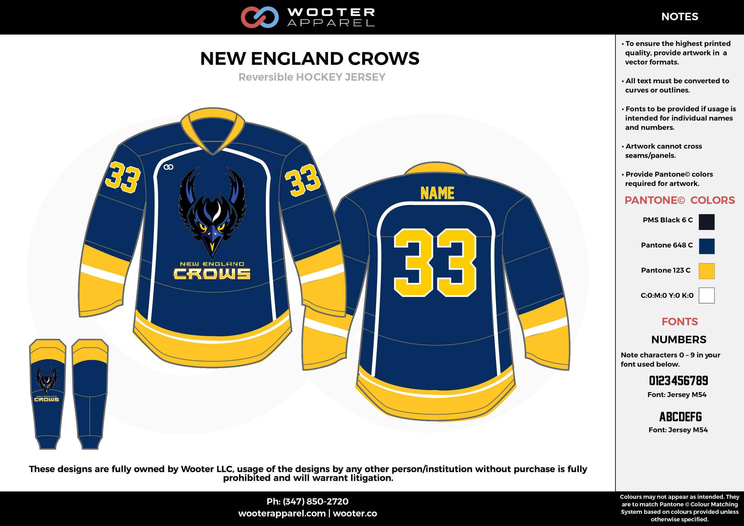 NEW ENGLAND CROWS black blue yellow white hockey uniforms jerseys