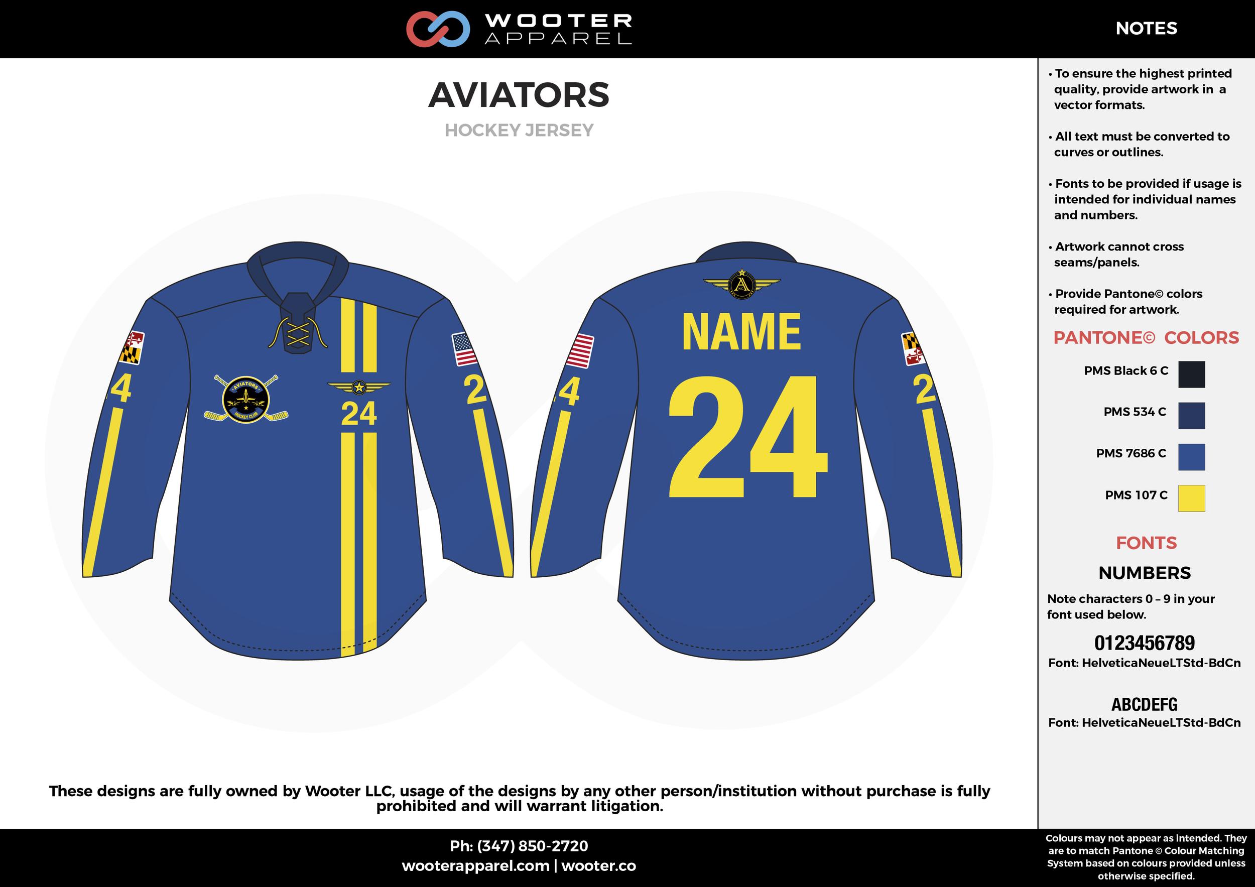 AVIATORS blue yellow black hockey uniforms jerseys