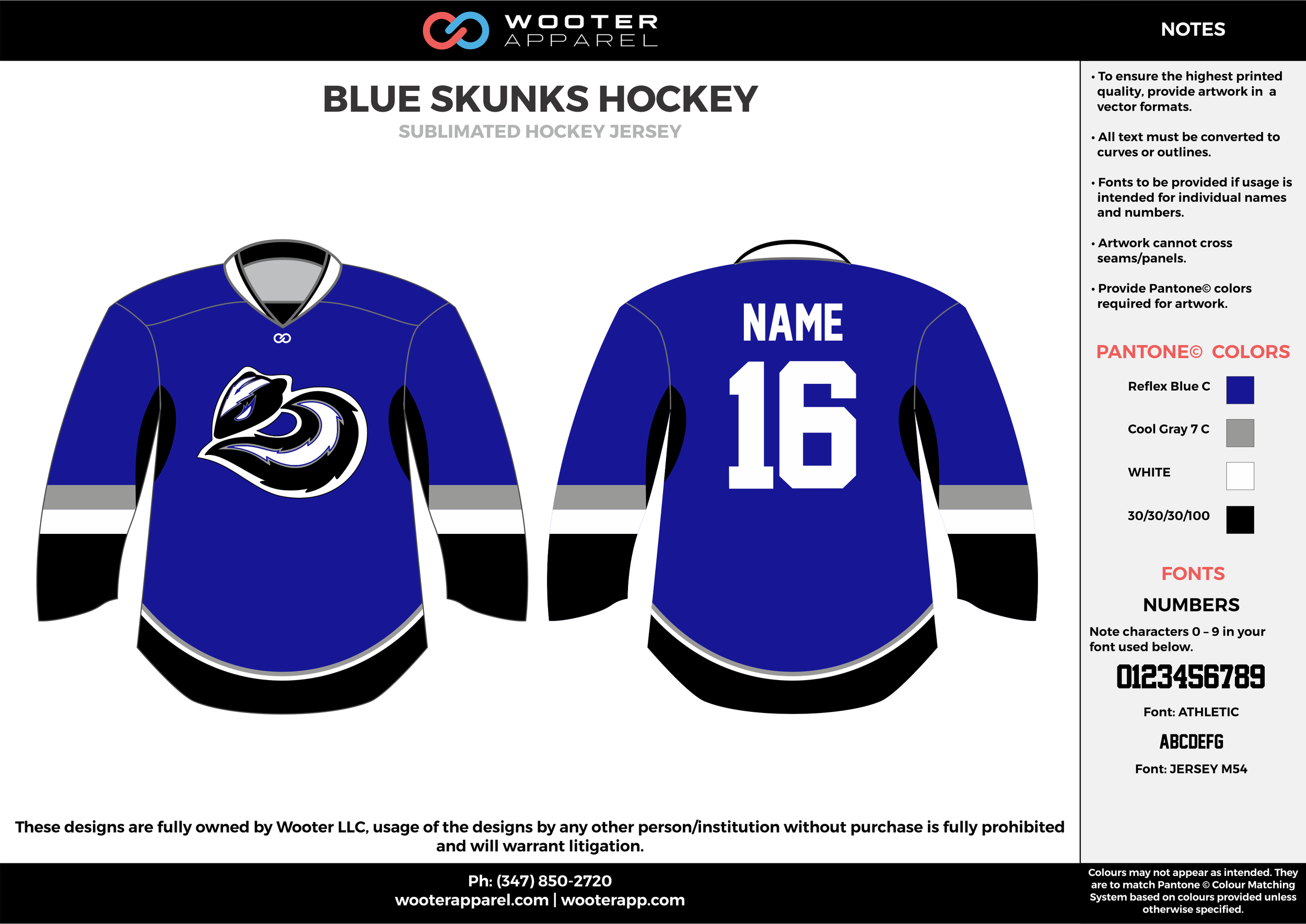 BLUE SKUNKS HOCKEY blue black white gray hockey uniforms jerseys