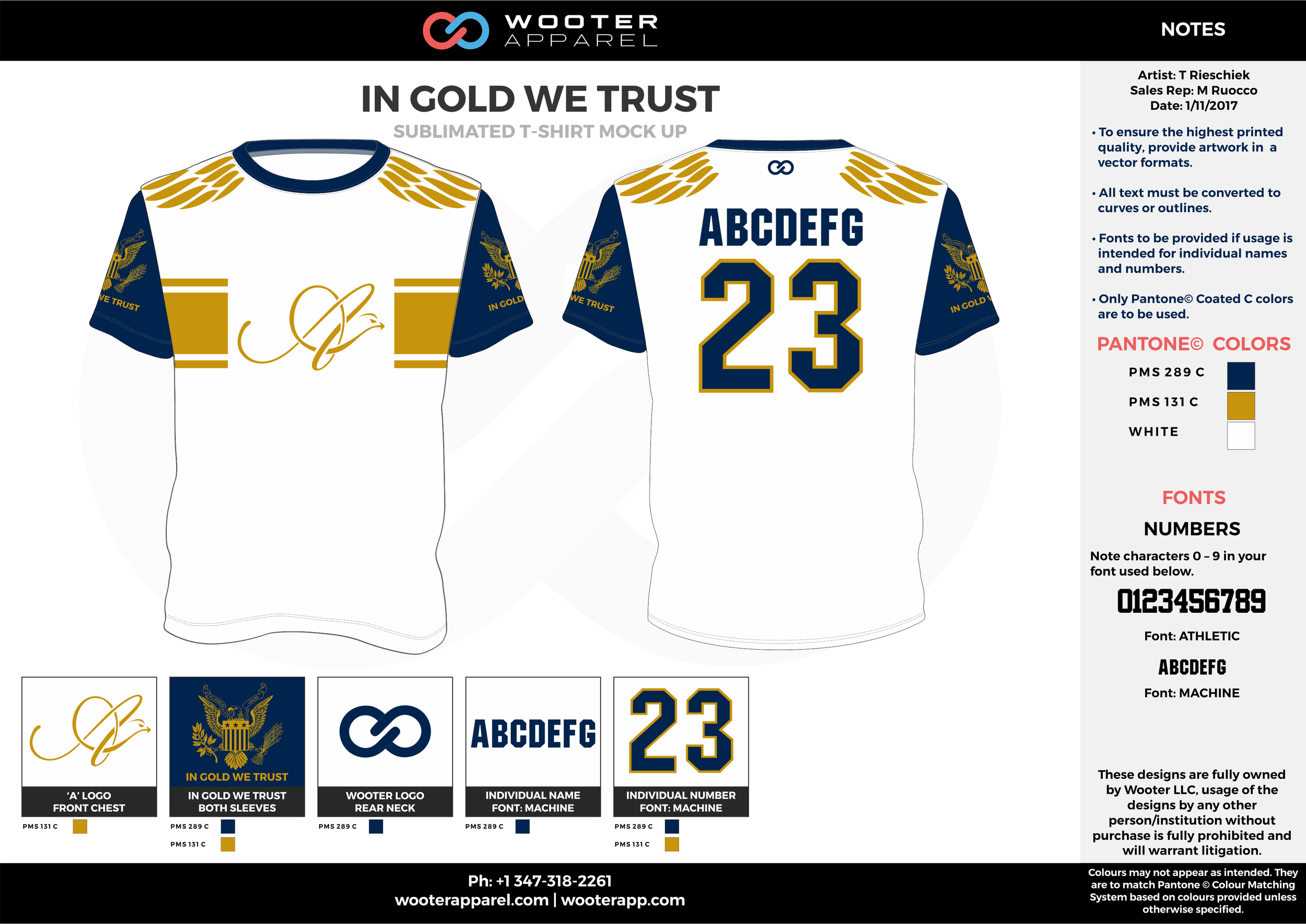 IN GOLD WE TRUST gold navy blue white custom design t-shirts