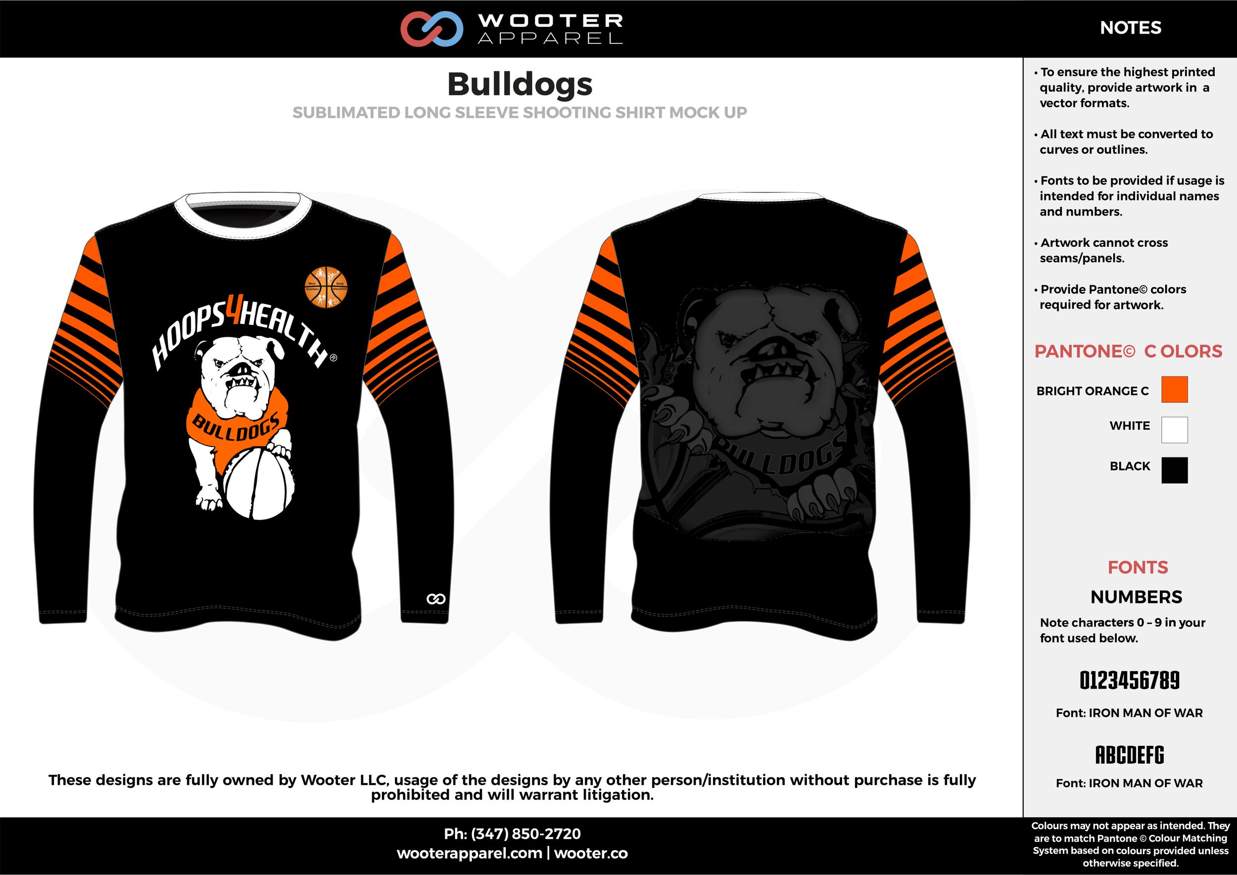 Bulldogs black orange white custom design t-shirts