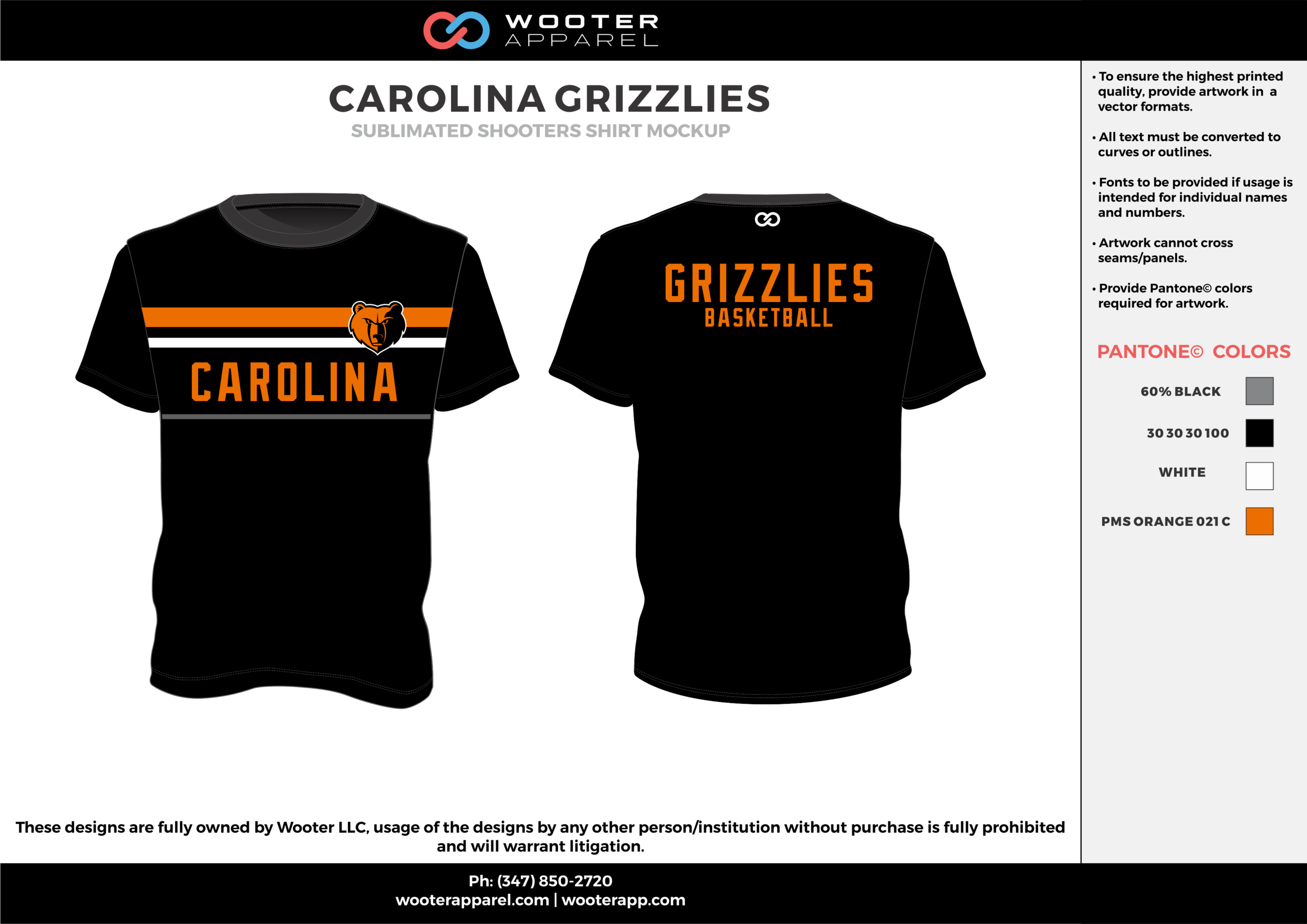 CAROLINA GRIZZLIES black gray orange white custom design t-shirts