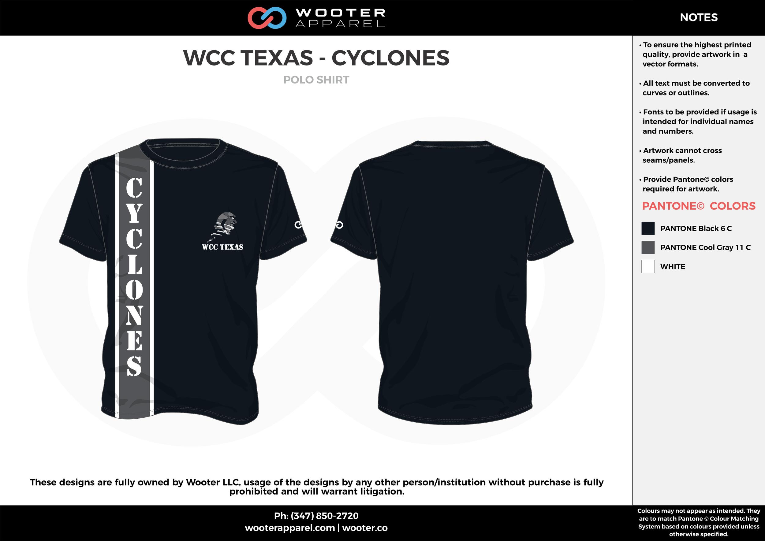 WCC TEXAS-CYCLONES black white gray custom design t-shirts