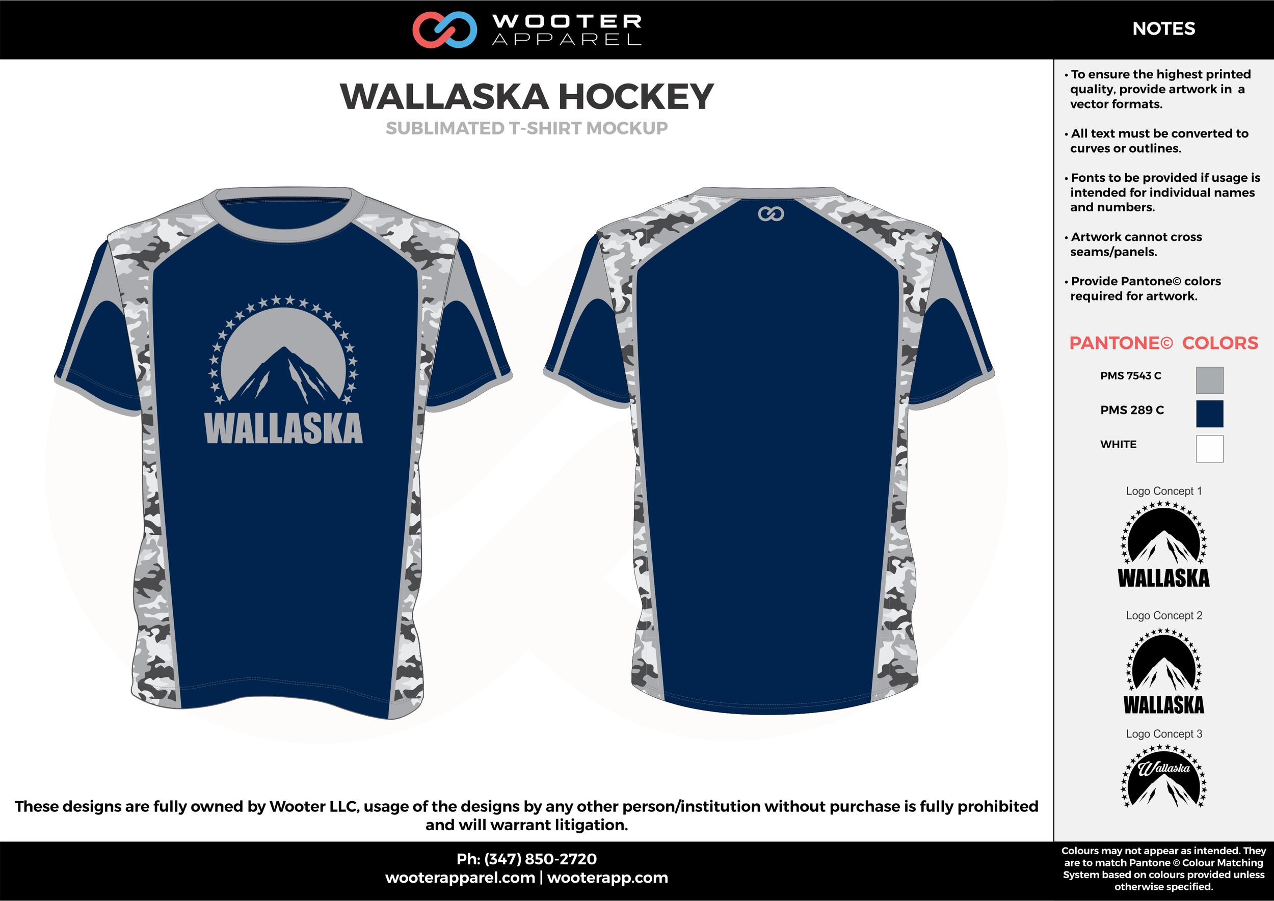 WALLASKA HOCKEY blue gray white custom design t-shirts