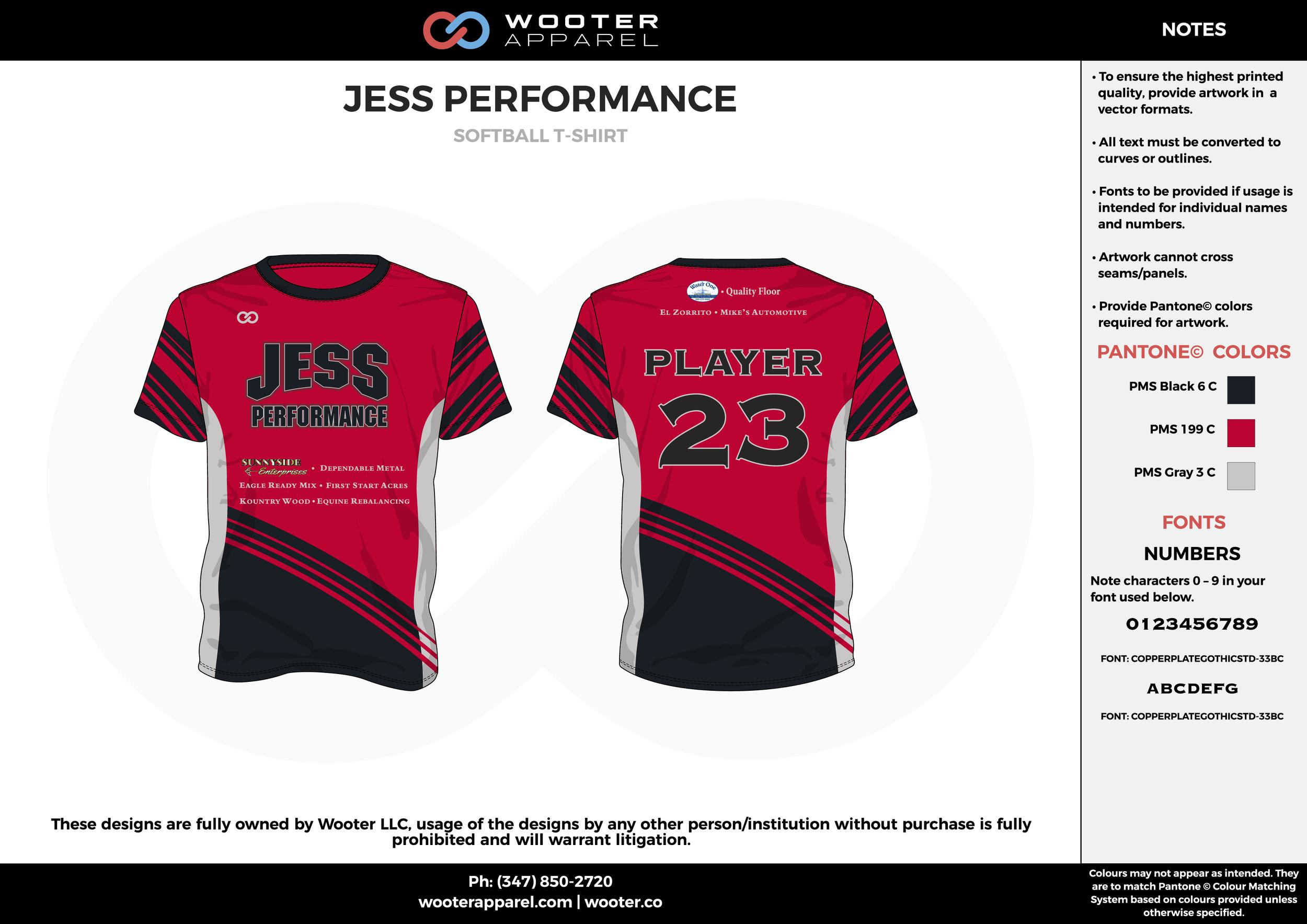 JESS PERFORMANCE red black gray custom design t-shirts