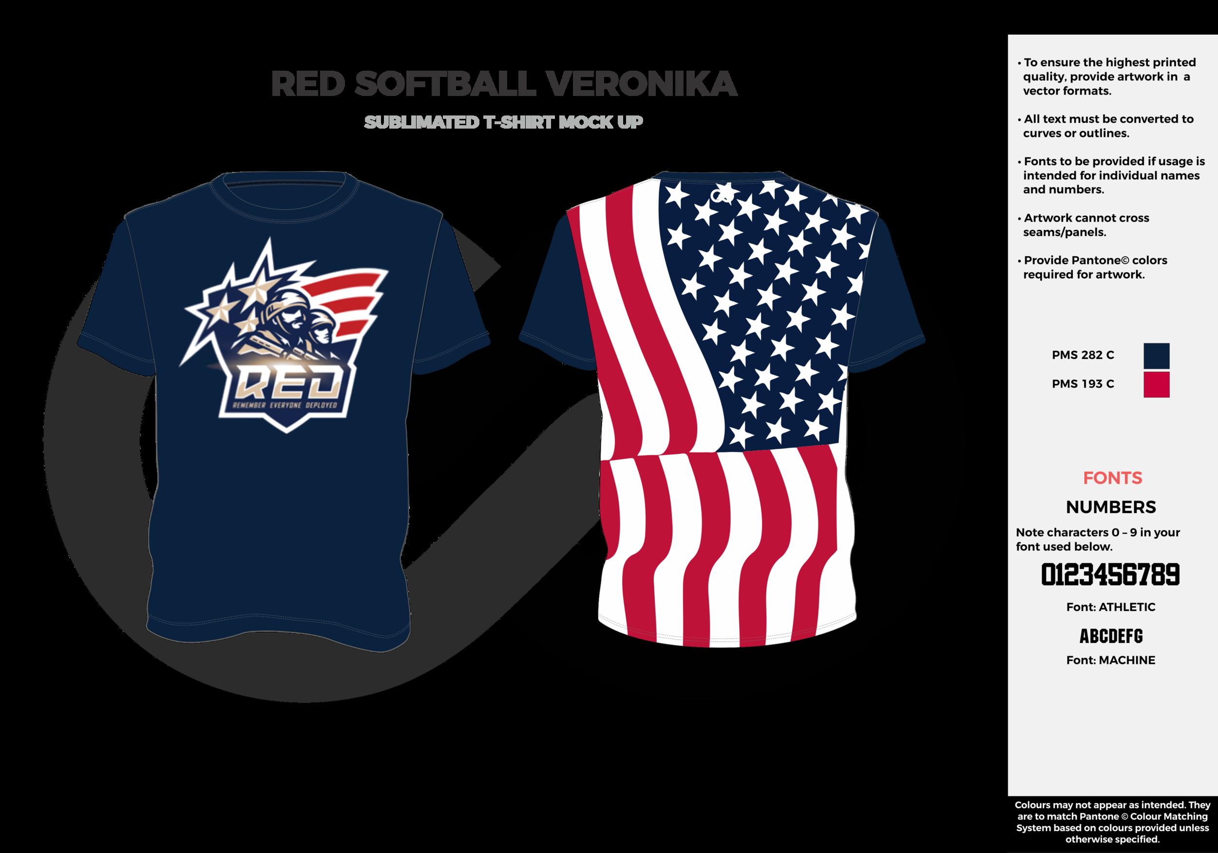 RED SOFTBALL VERONIKA navy blue red white custom design t-shirts