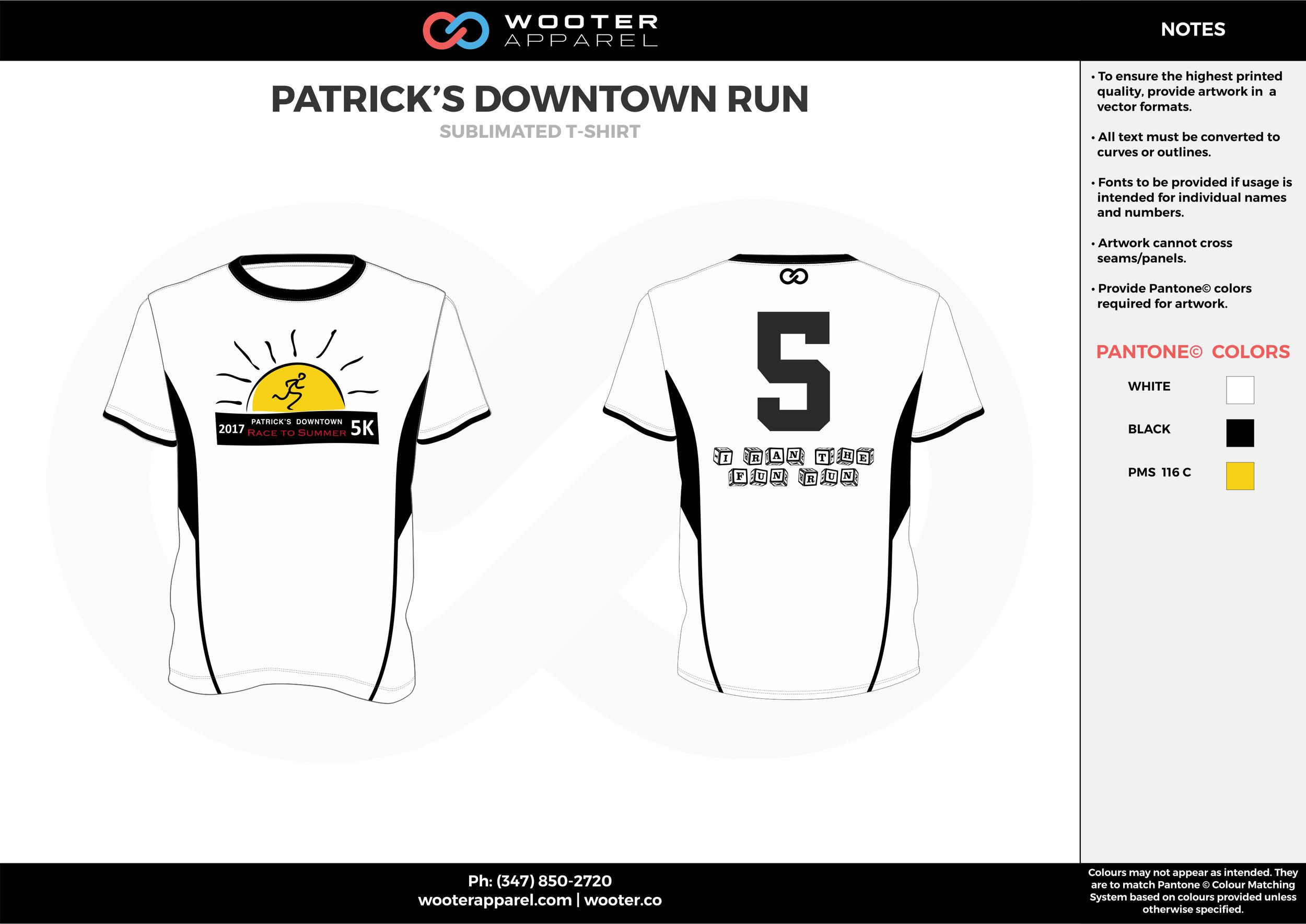 PATRICK'S DOWNTOWN RUN white black yellow custom design t-shirts