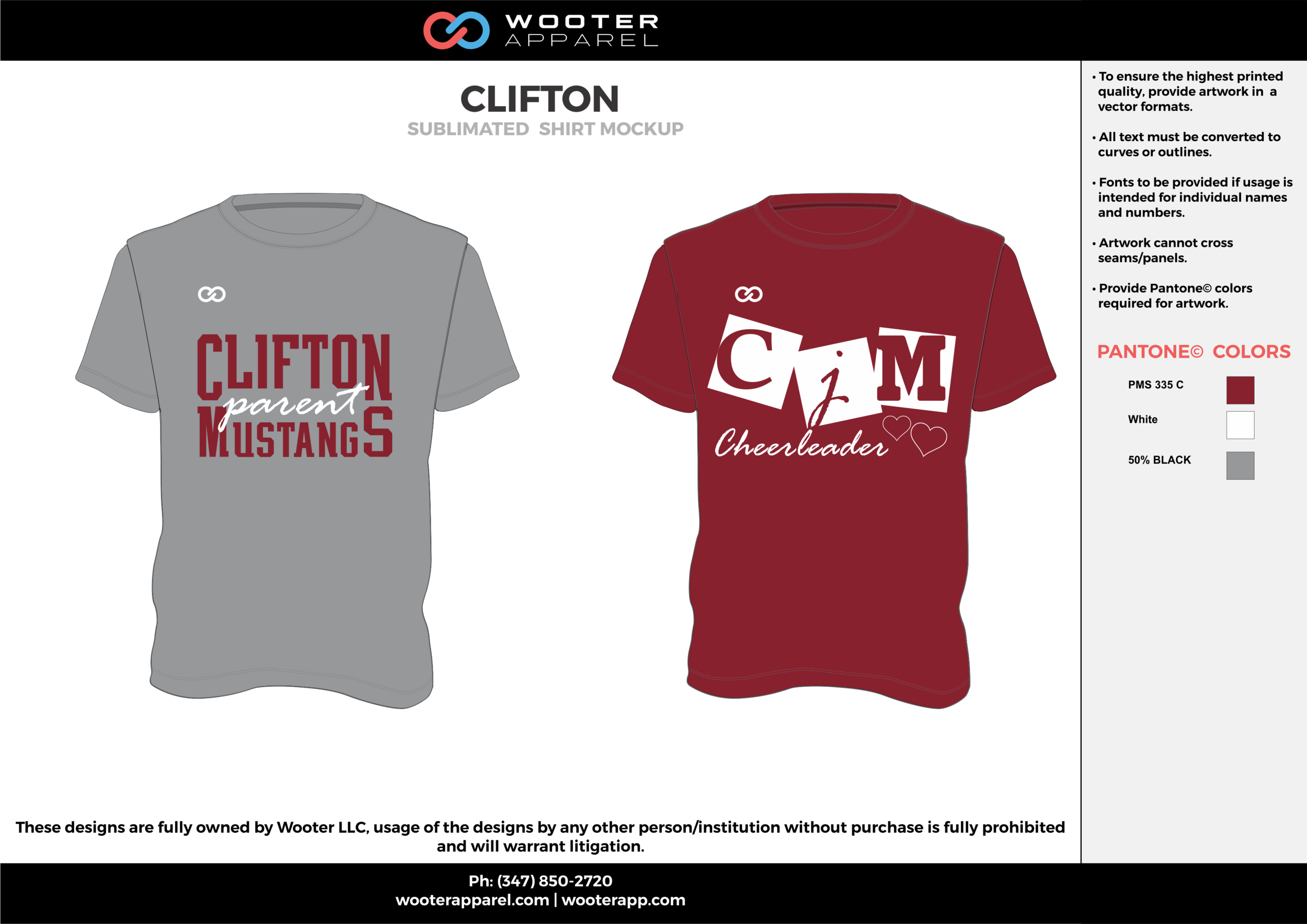 CLIFTON cool gray maroon white custom design t-shirts