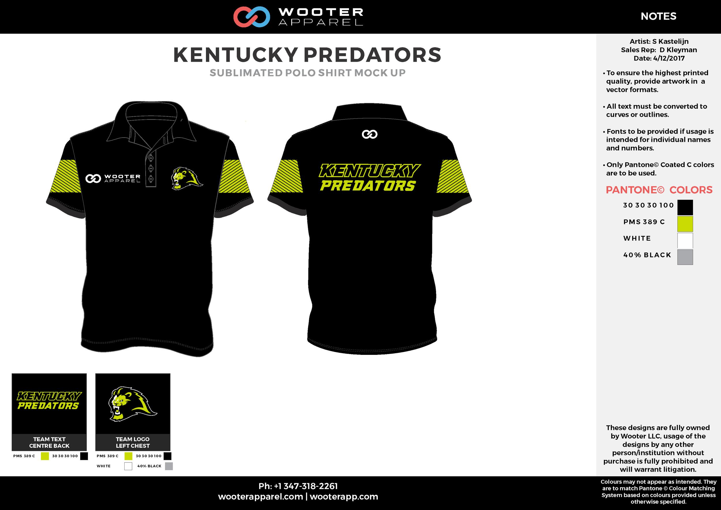 KENTUCKY PREDATORS black green gray white Polo Shirts