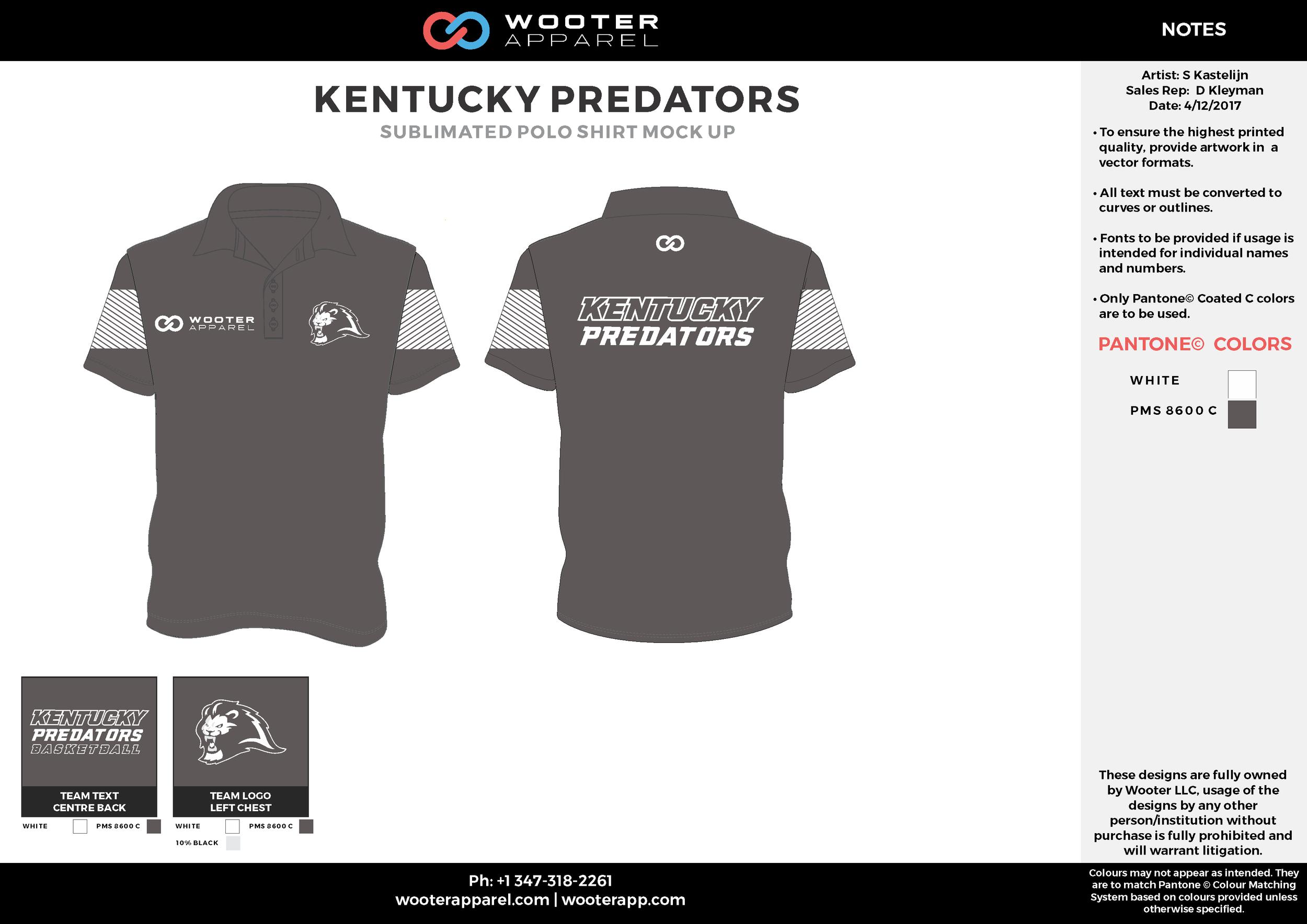 KENTUCKY PREDATORS black white Polo Shirts