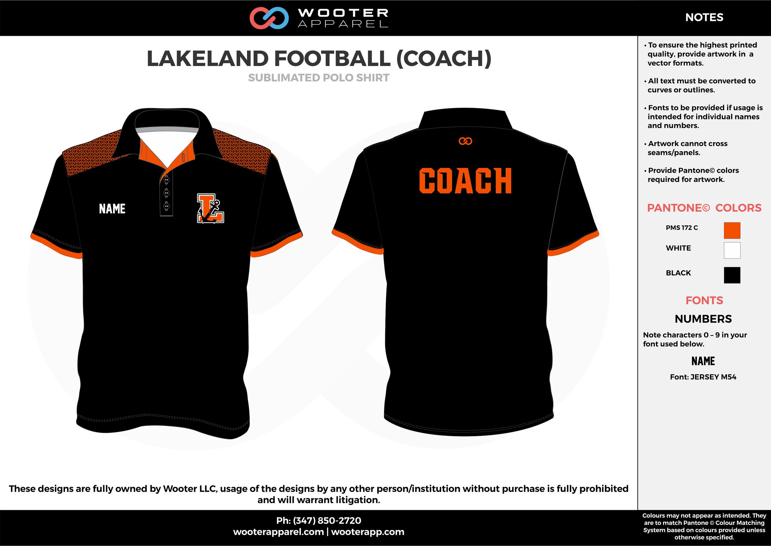 LAKELAND FOOTBALL (COACH) orange black white Polo Shirts