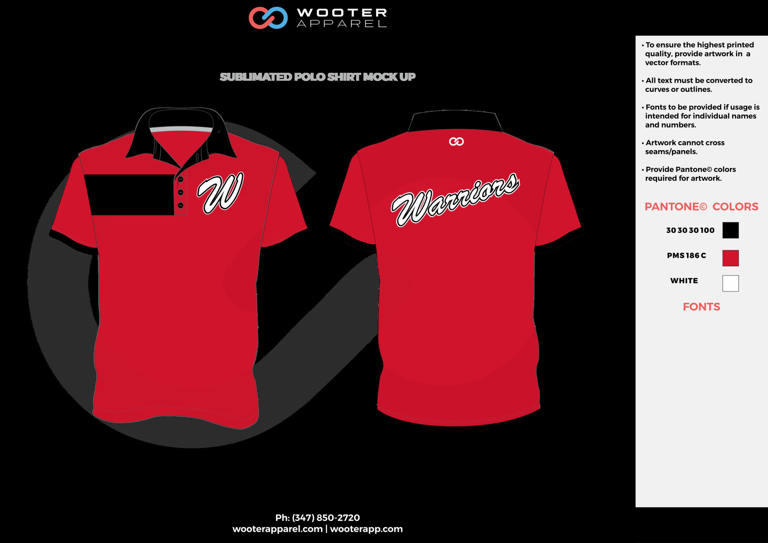 WARRIORS red black white Polo Shirts