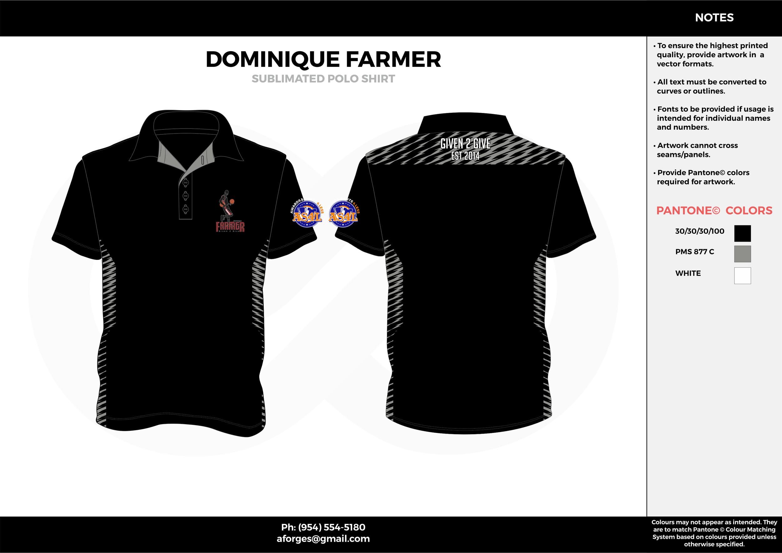 DOMINIQUE FARMER black gray white Polo Shirts