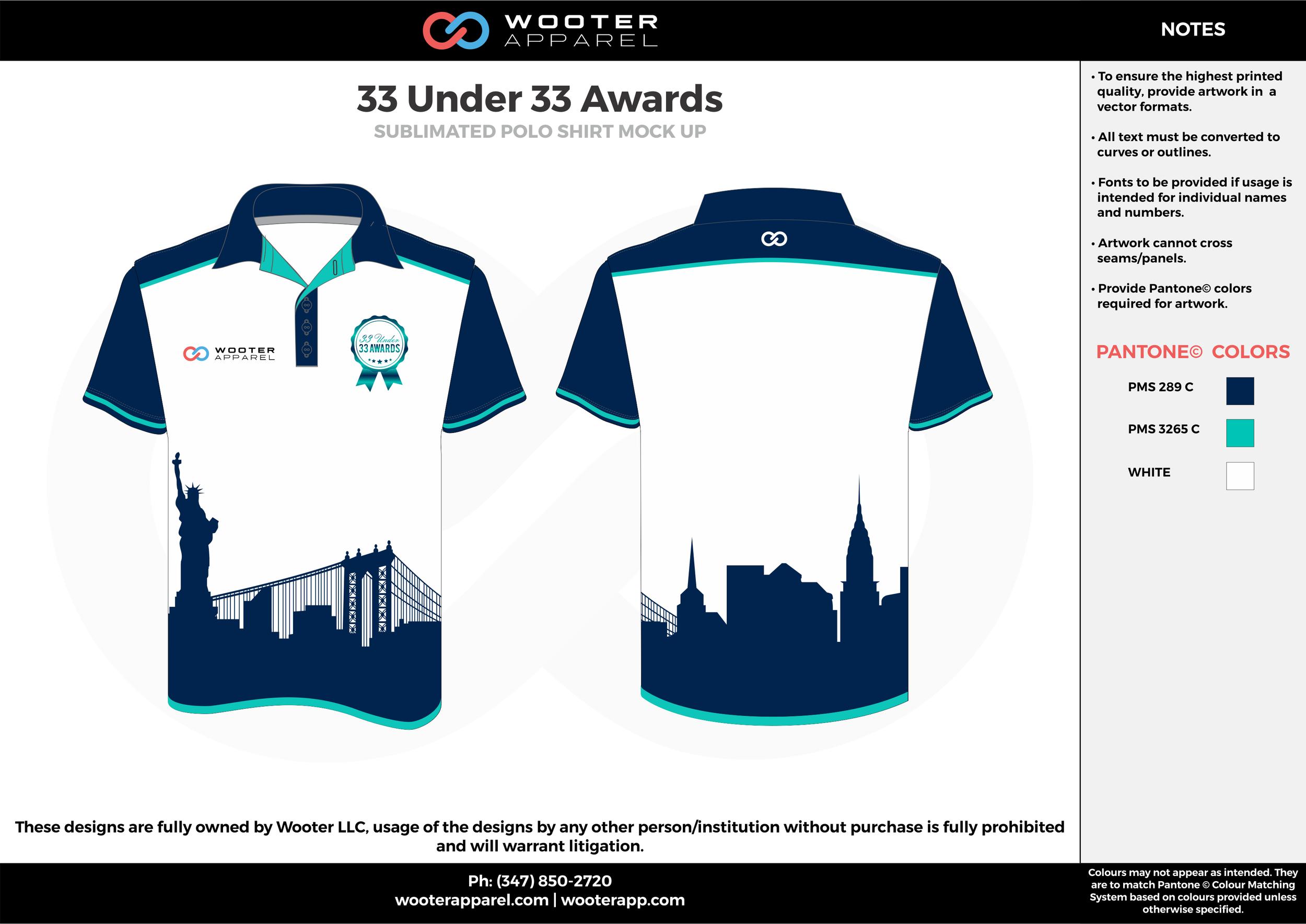 33 UNDER 33 AWARDS sky dark blue white Polo Shirts