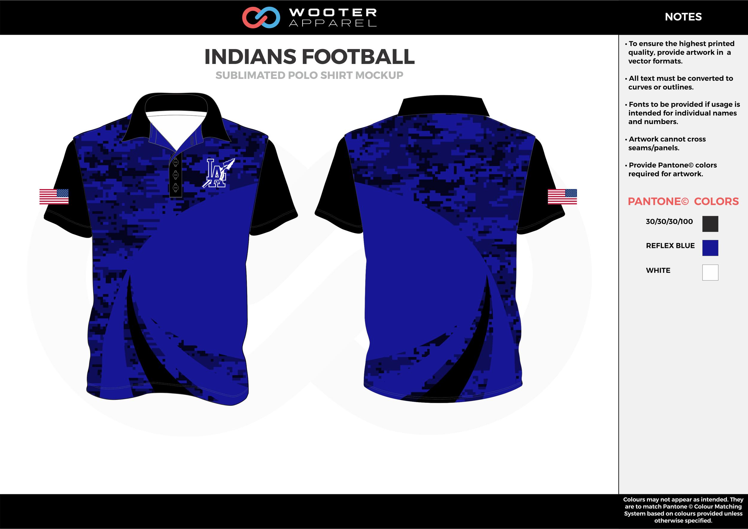 INDIANS FOOTBALL blue black white Polo Shirts