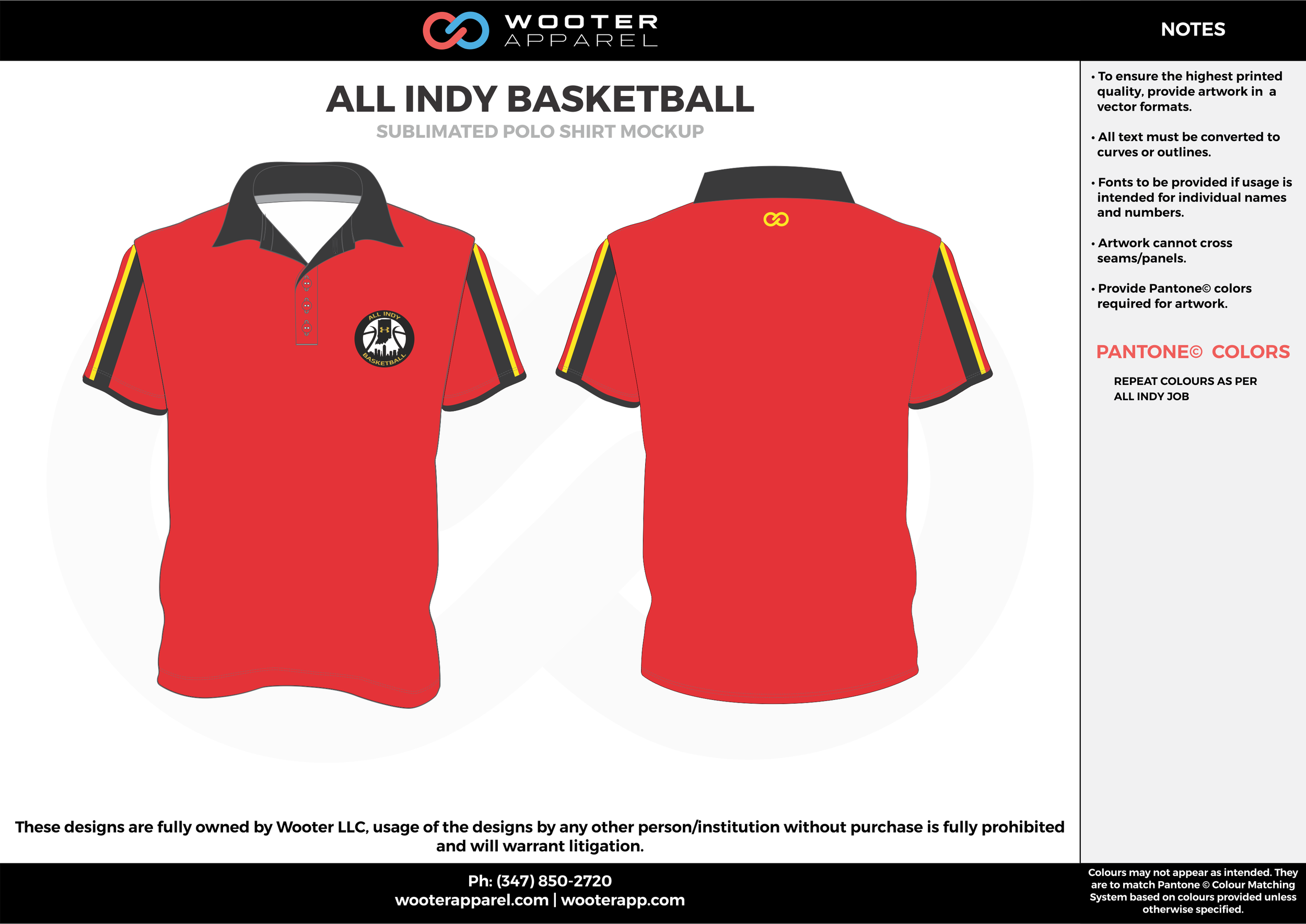 ALL INDY BASKETBALL red black orange white Polo Shirts