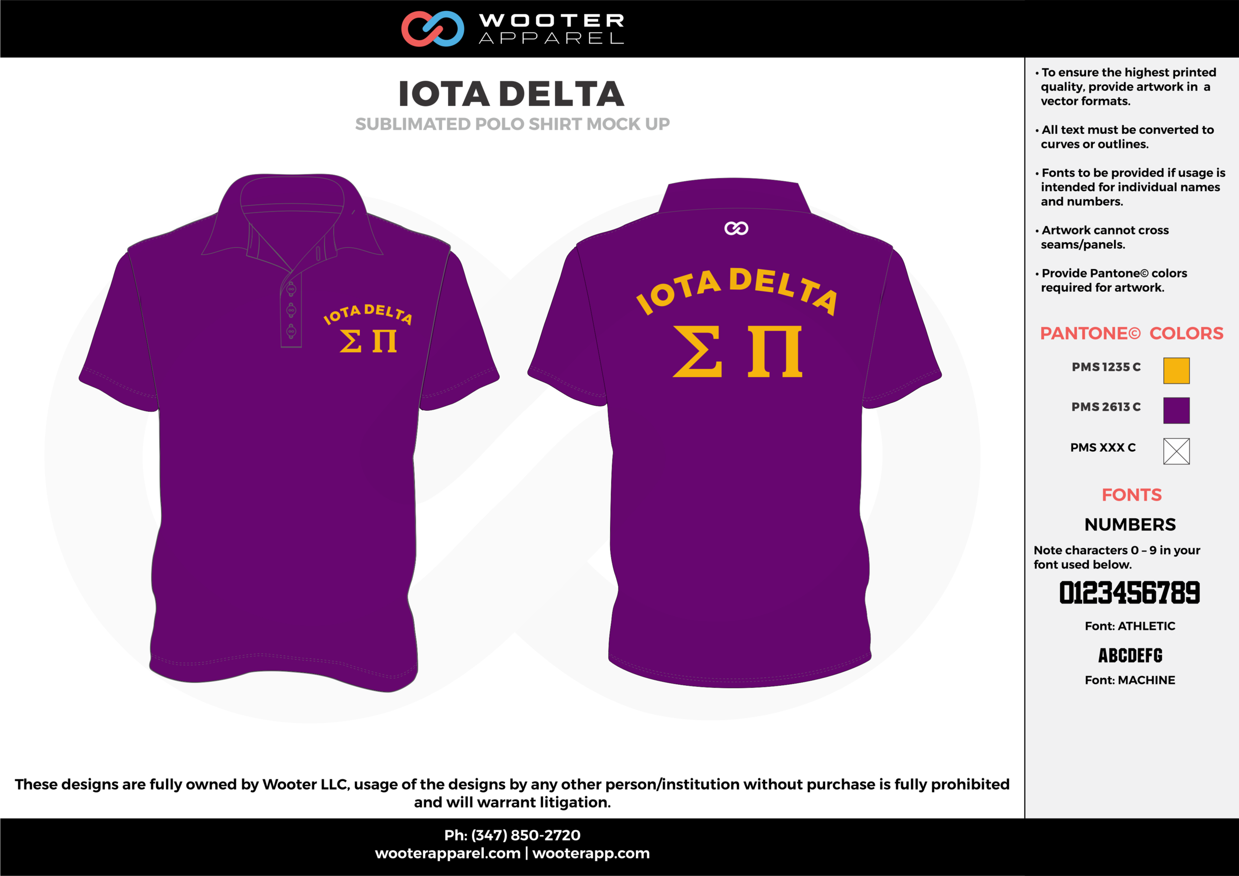 IOTA DELTA purple yellow Polo Shirts
