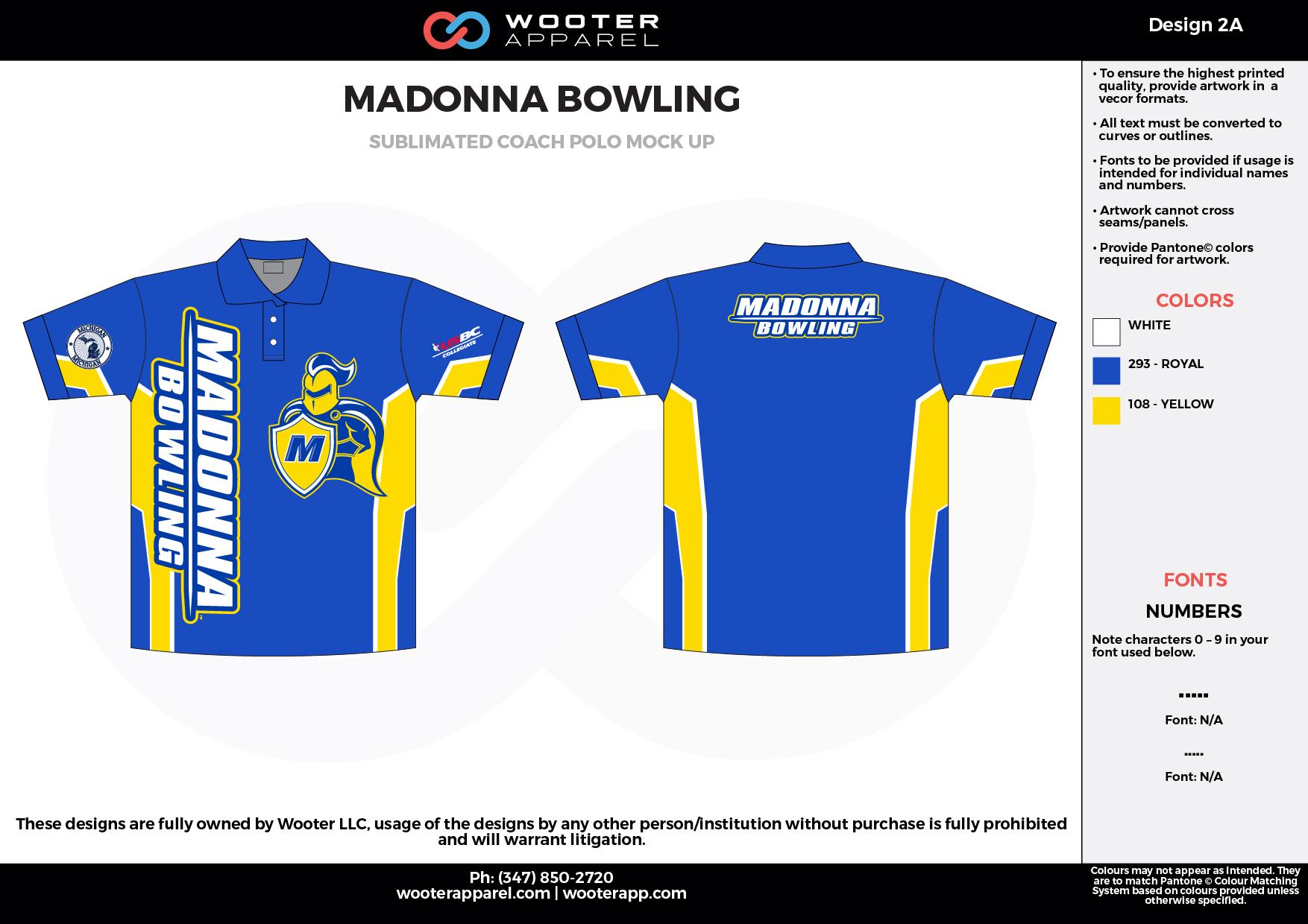 MADONNA BOWLING blue yellow white Polo Shirts