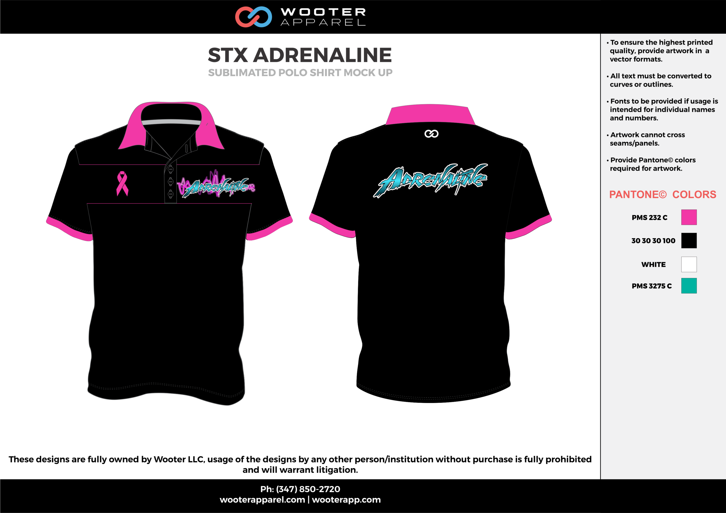 STX ADRENALINE pink black white blue Polo Shirts