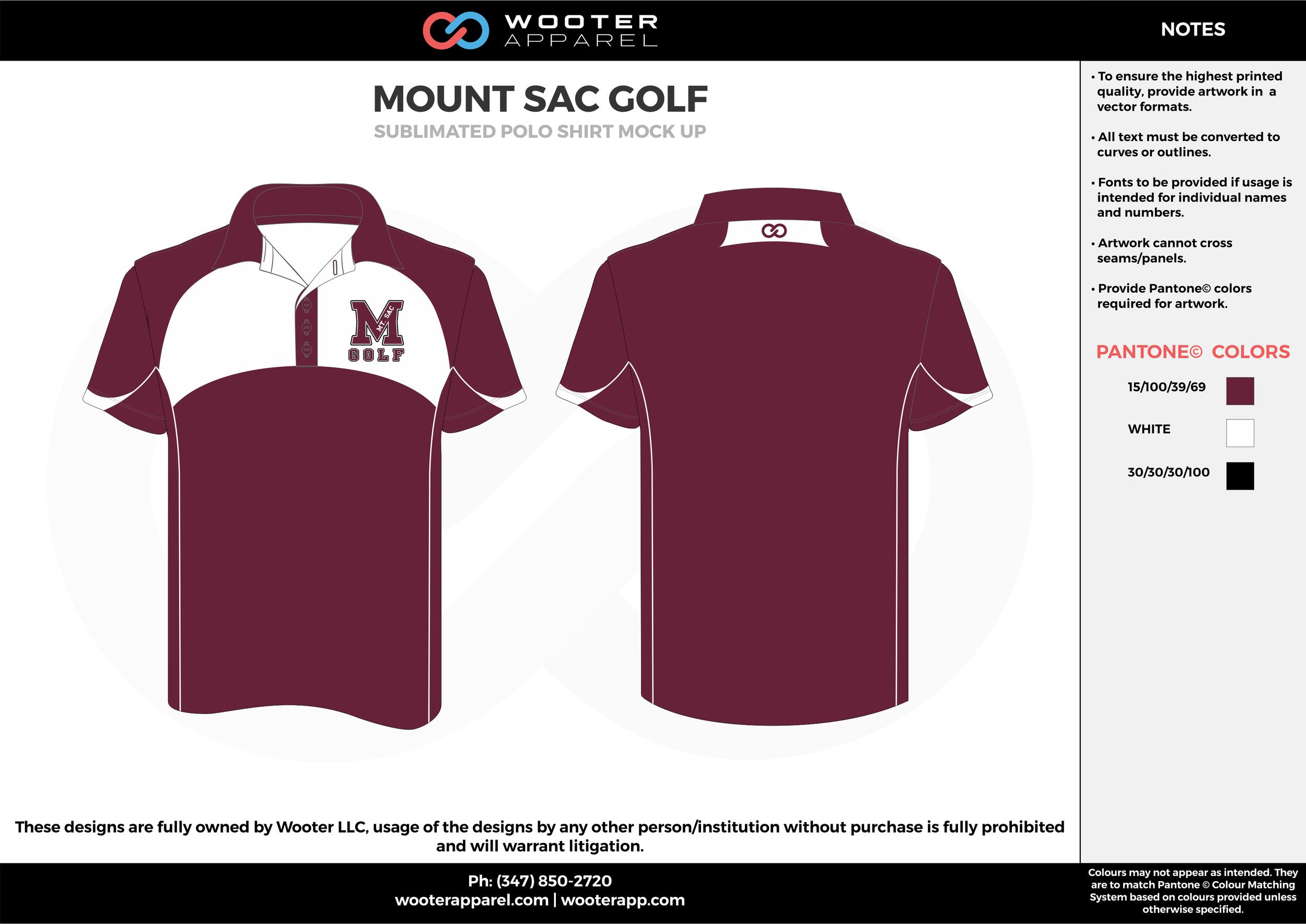MOUNT SAC GOLF maroon white Polo Shirts