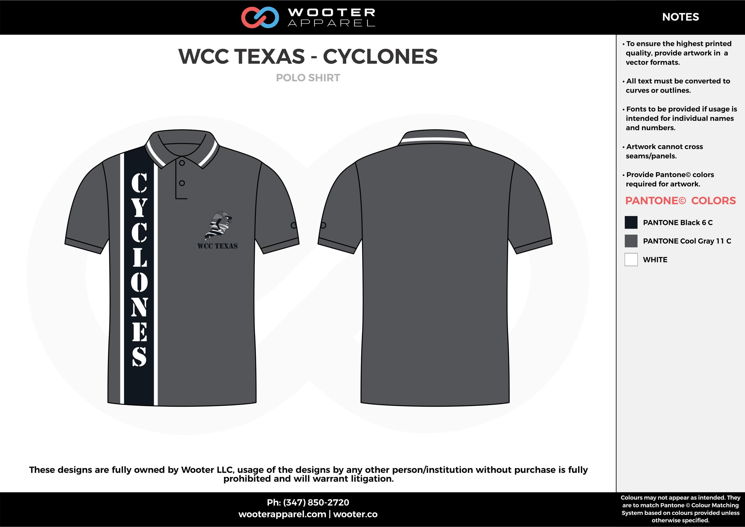 WCC TEXAS - CYCLONES black gray white Polo Shirts