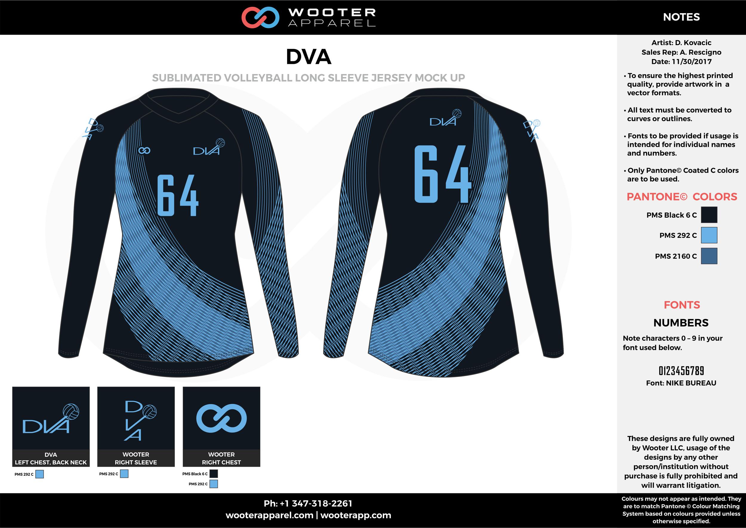 DVA sky dark blue black Volleyball Uniforms, Long sleeve Jerseys, Shorts