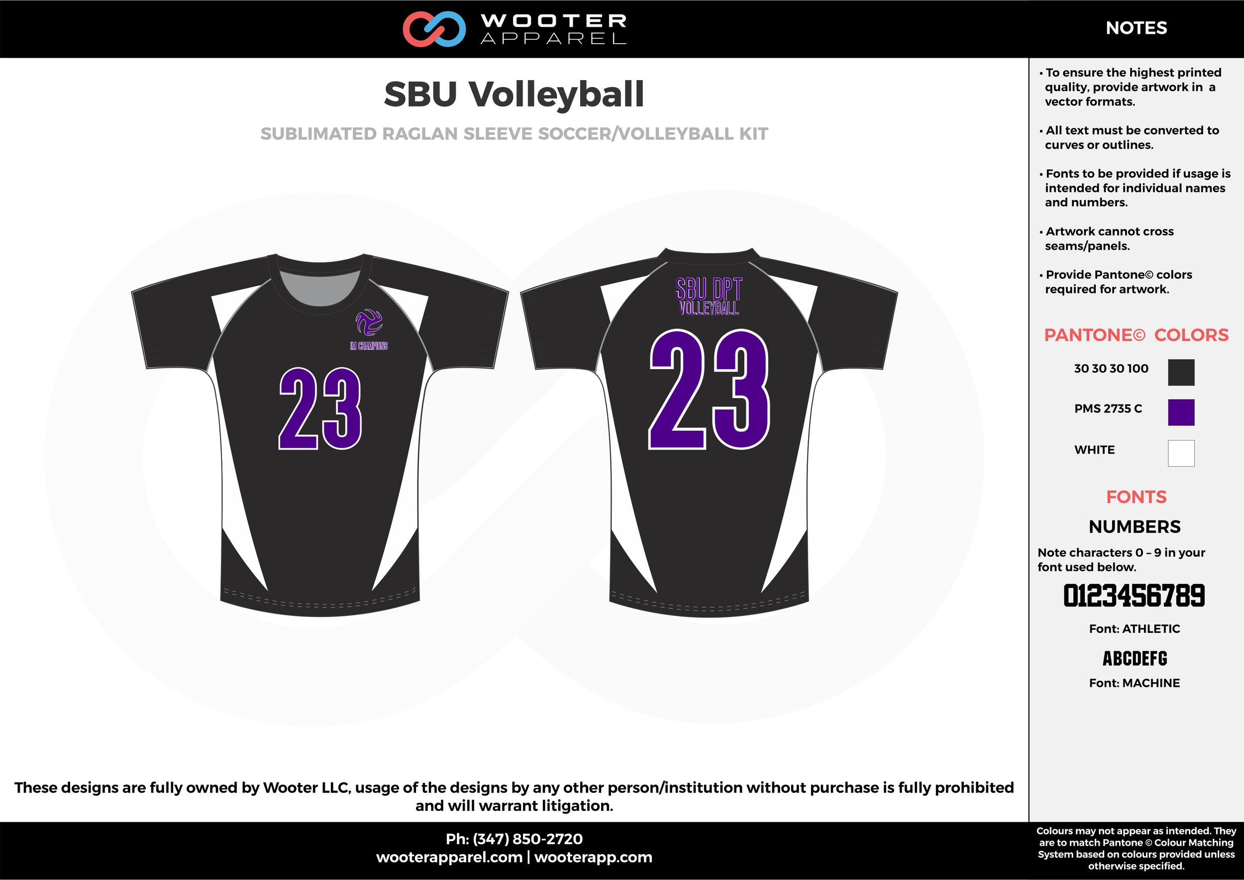 SBU VOLLEYBALL black purple white Volleyball Uniforms, Jerseys, Shorts