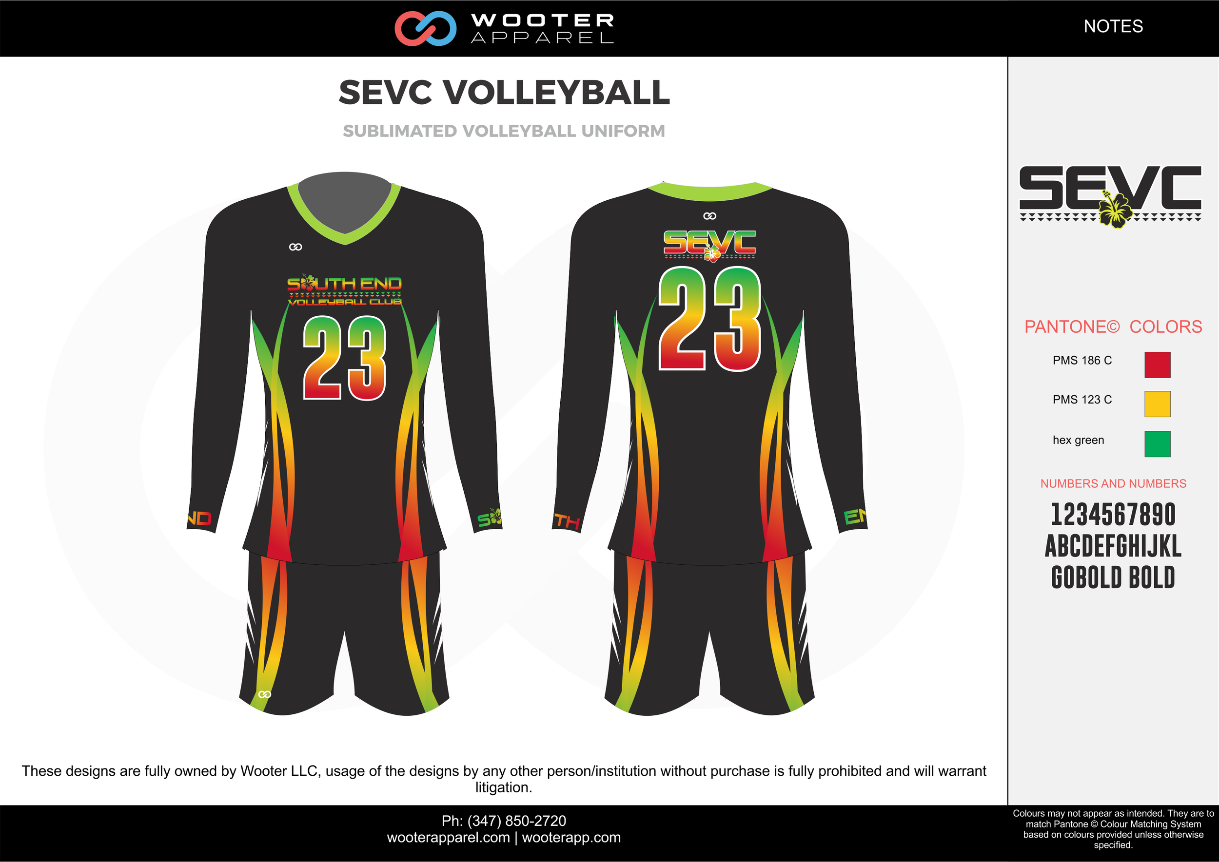 SEVC VOLLEYBALL red yellow green black Volleyball Uniforms, Long Sleeve Jerseys, Shorts
