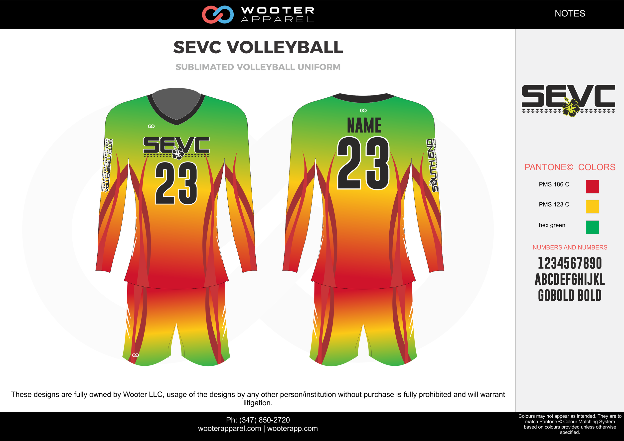 SEVC VOLLEYBALL red yellow green Volleyball Uniforms, Long Sleeve Jerseys, Shorts