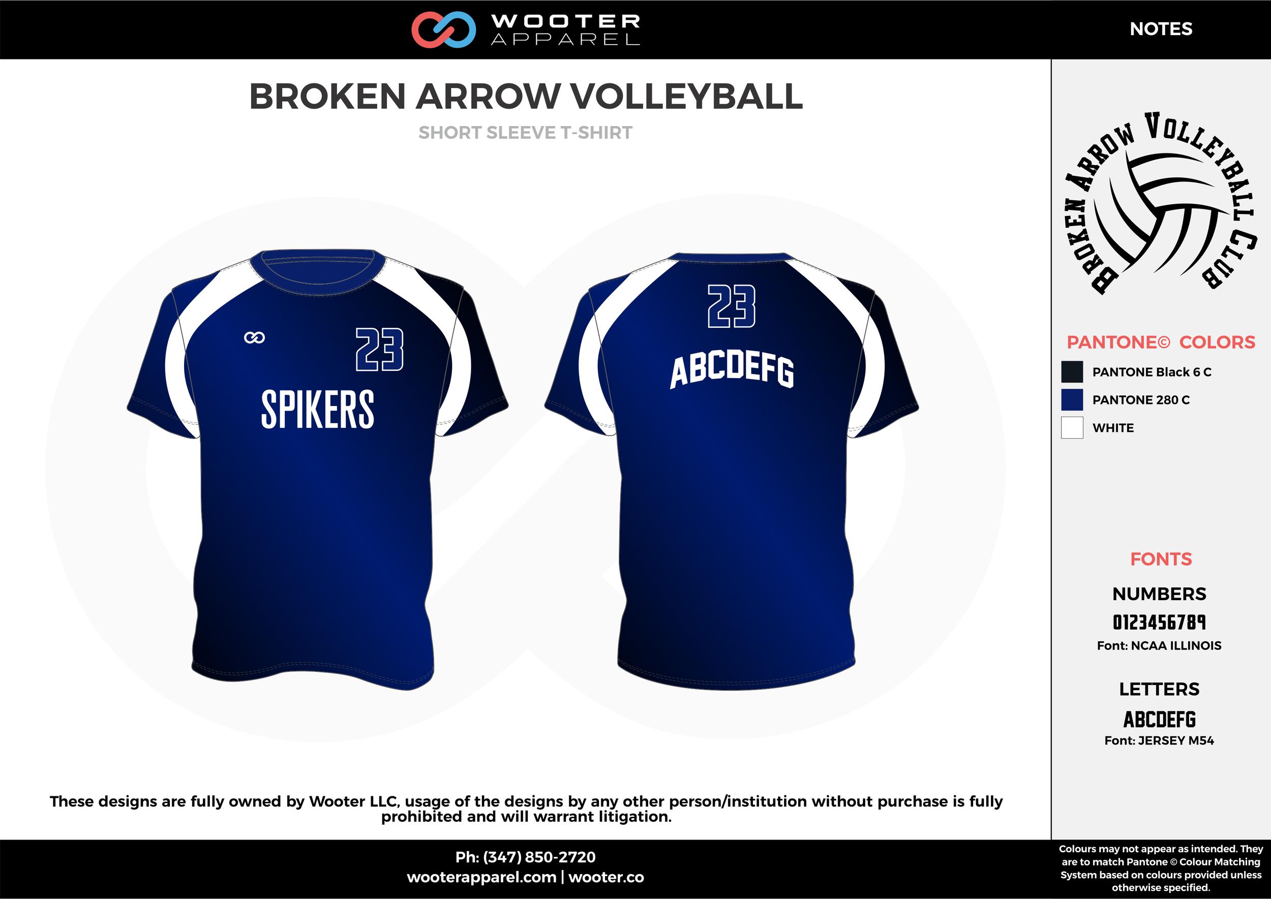 BROKEN ARROW VOLLEYBALL black blue white Volleyball Uniforms, Jerseys, Shorts