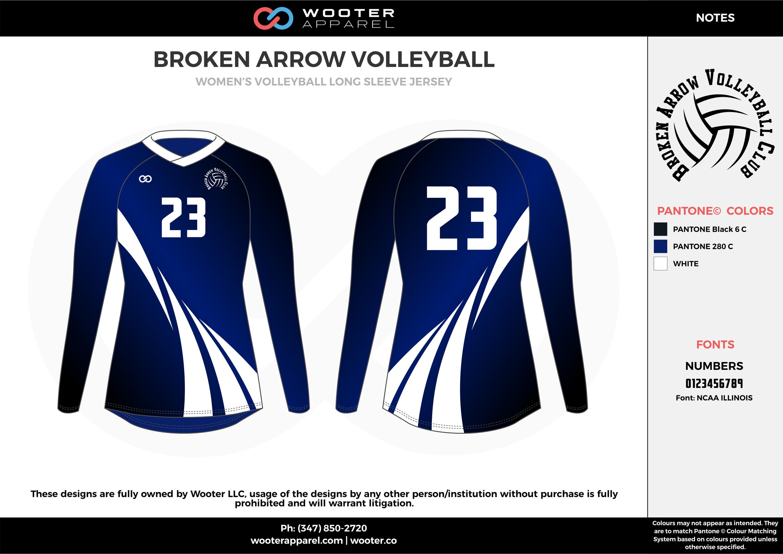 BROKEN ARROW VOLLEYBALL black blue white Volleyball Uniforms, Long Sleeve Jerseys, Shorts