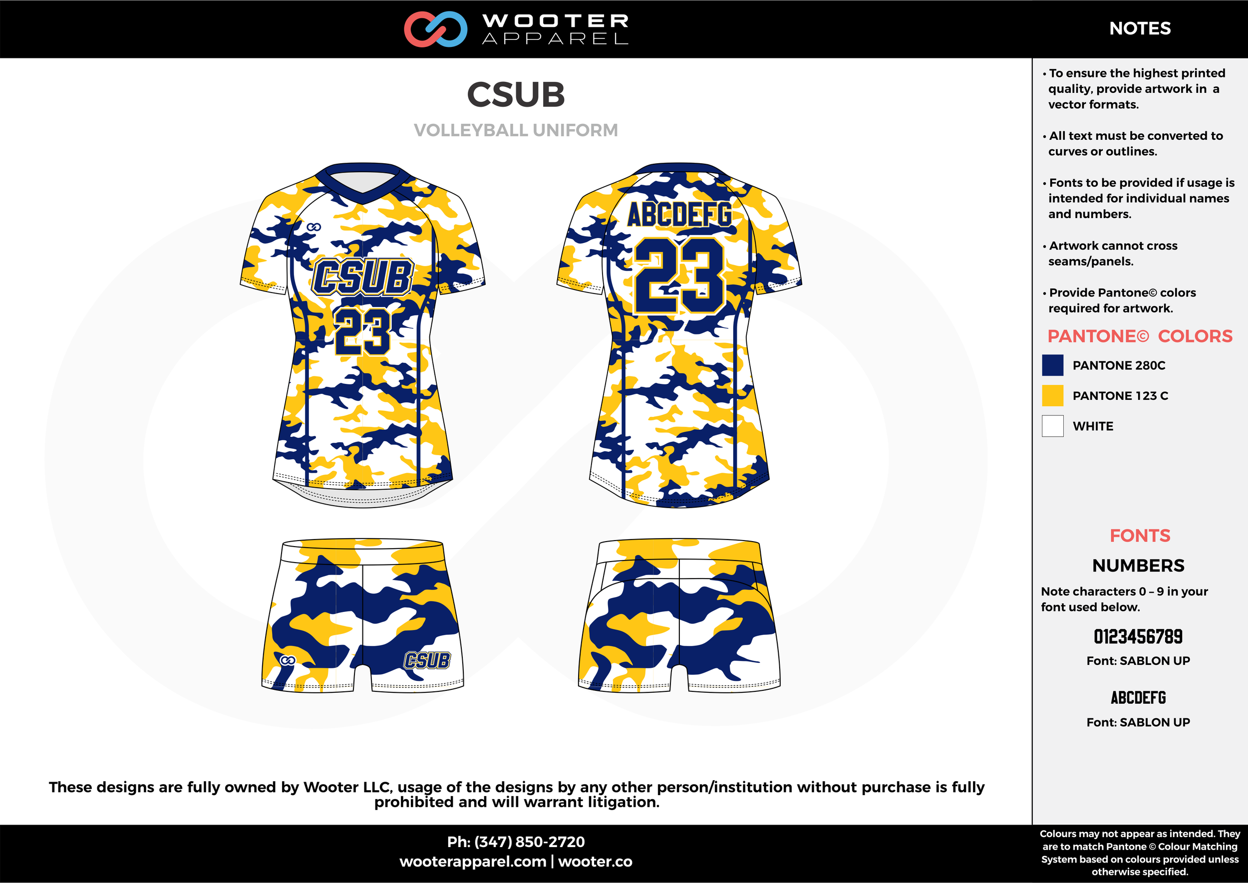 CSUB yellow blue white Volleyball Uniforms, Jerseys, Shorts