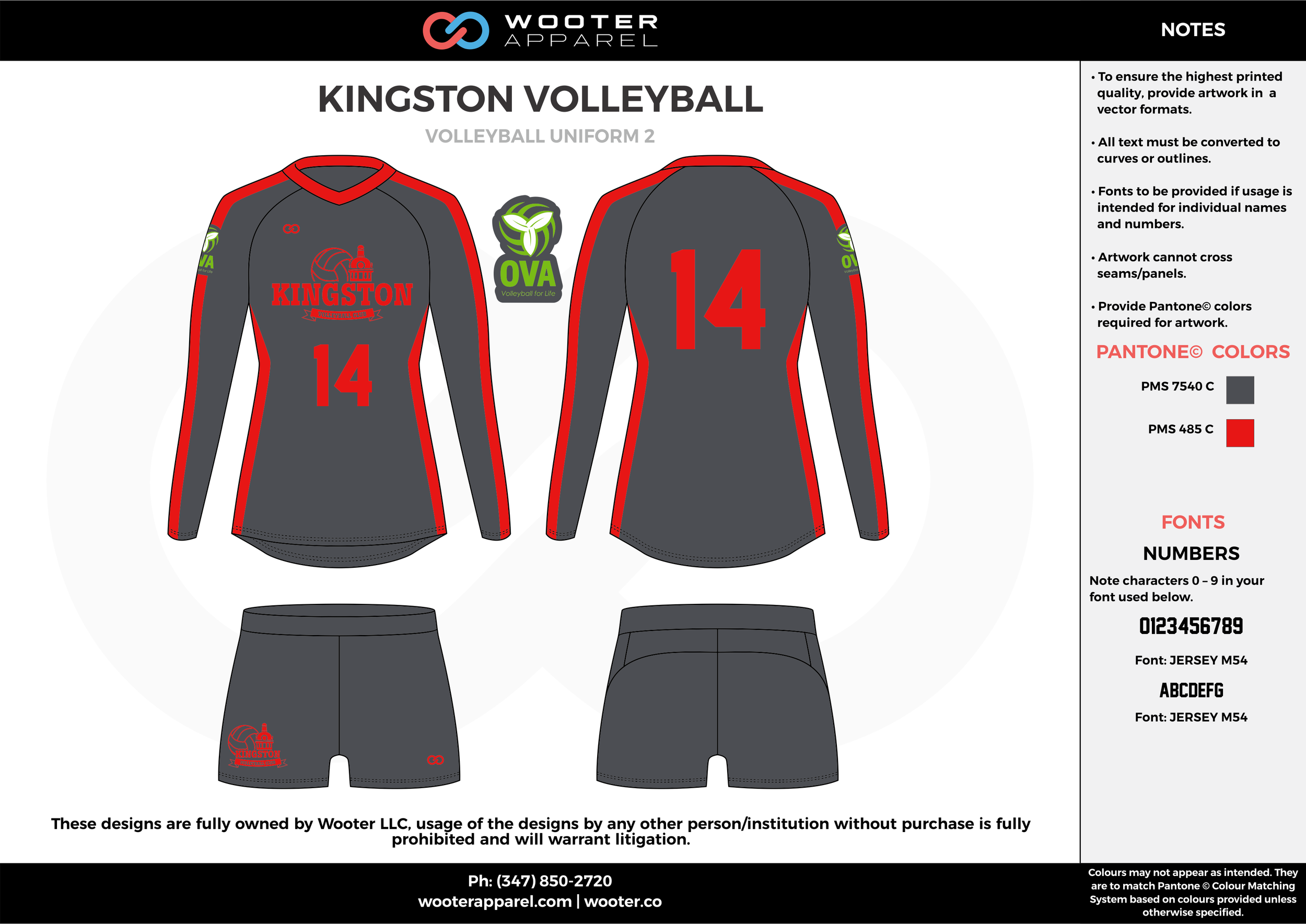 KINGSTON VOLLEYBALL gray red Volleyball Uniforms, Long Sleeve Jerseys, Shorts