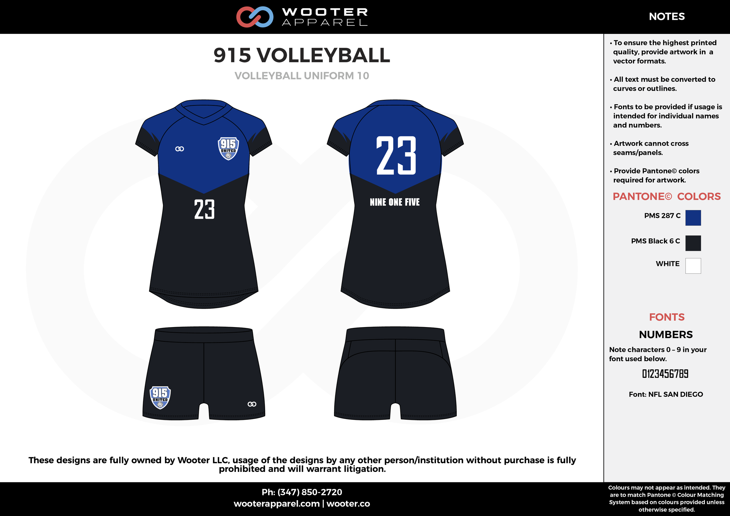 915 VOLLEYBALL blue black white Volleyball Uniforms, Jerseys, Shorts
