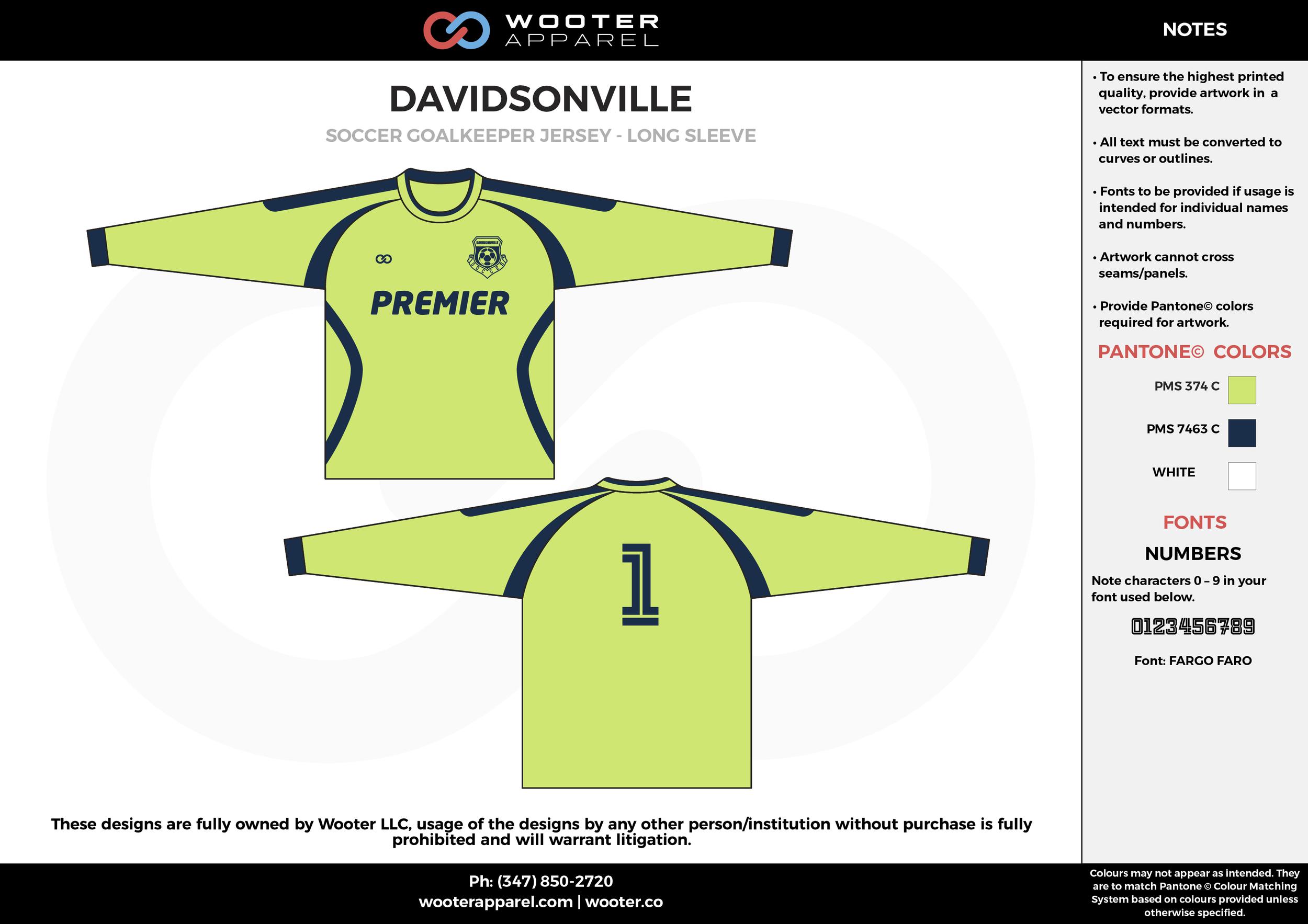 DAVIDSONVILLE apple green custom sublimated soccer uniform jersey shirt