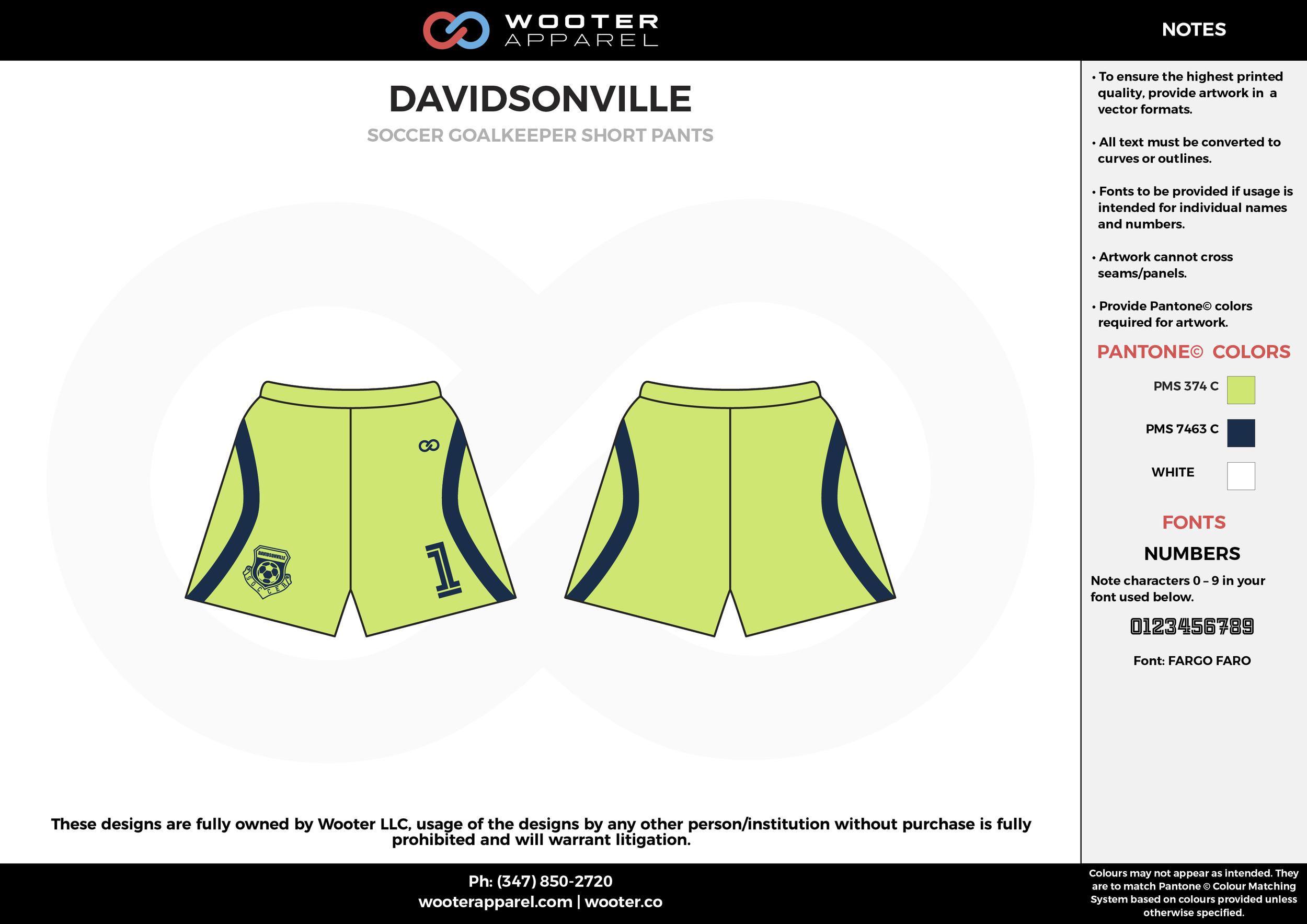 DAVIDSONVILLE apple green black custom sublimated soccer uniform jersey shorts