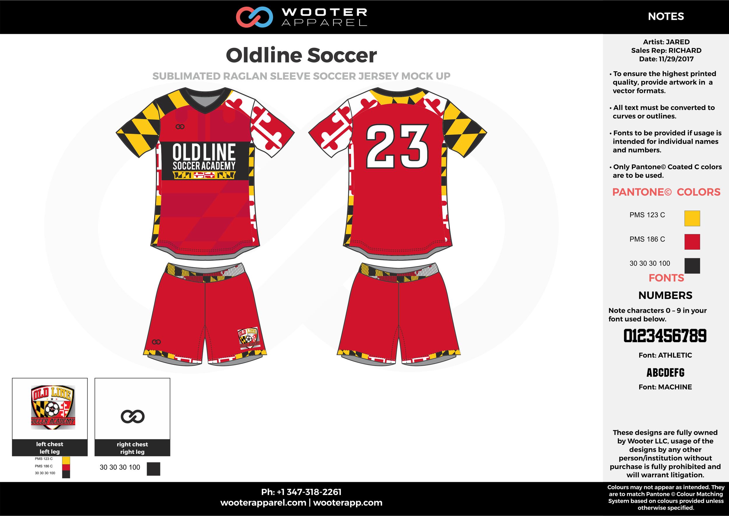 Oldline red yellow black white custom sublimated soccer uniform jersey shirt shorts