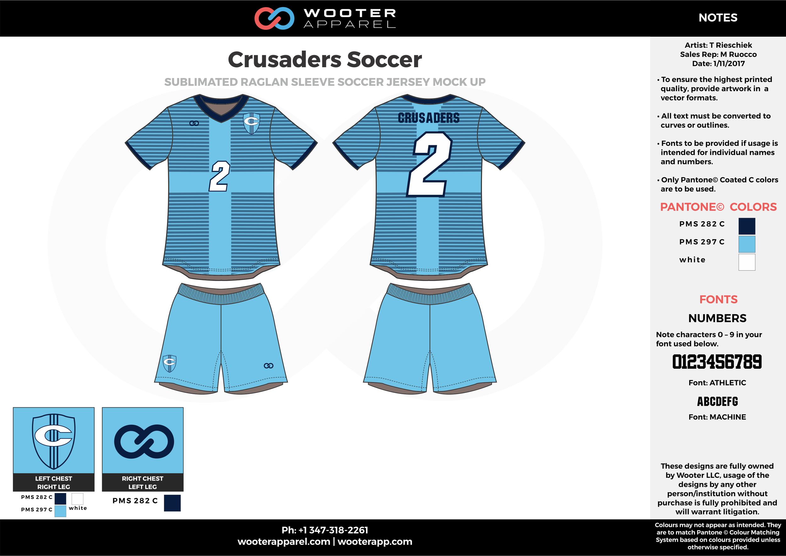 Crusaders blue white black custom sublimated soccer uniform jersey shirt shorts