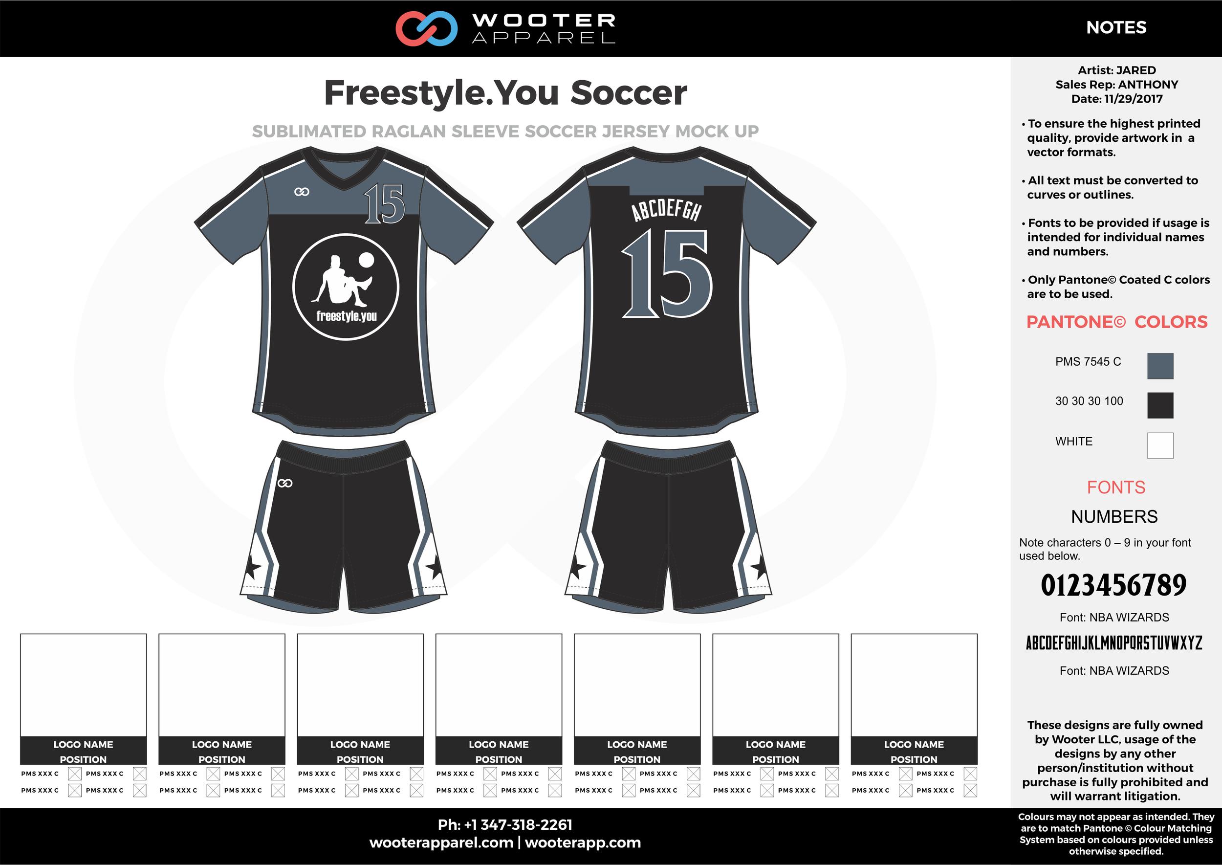 Freestyle black gray white custom sublimated soccer uniform jersey shirt shorts