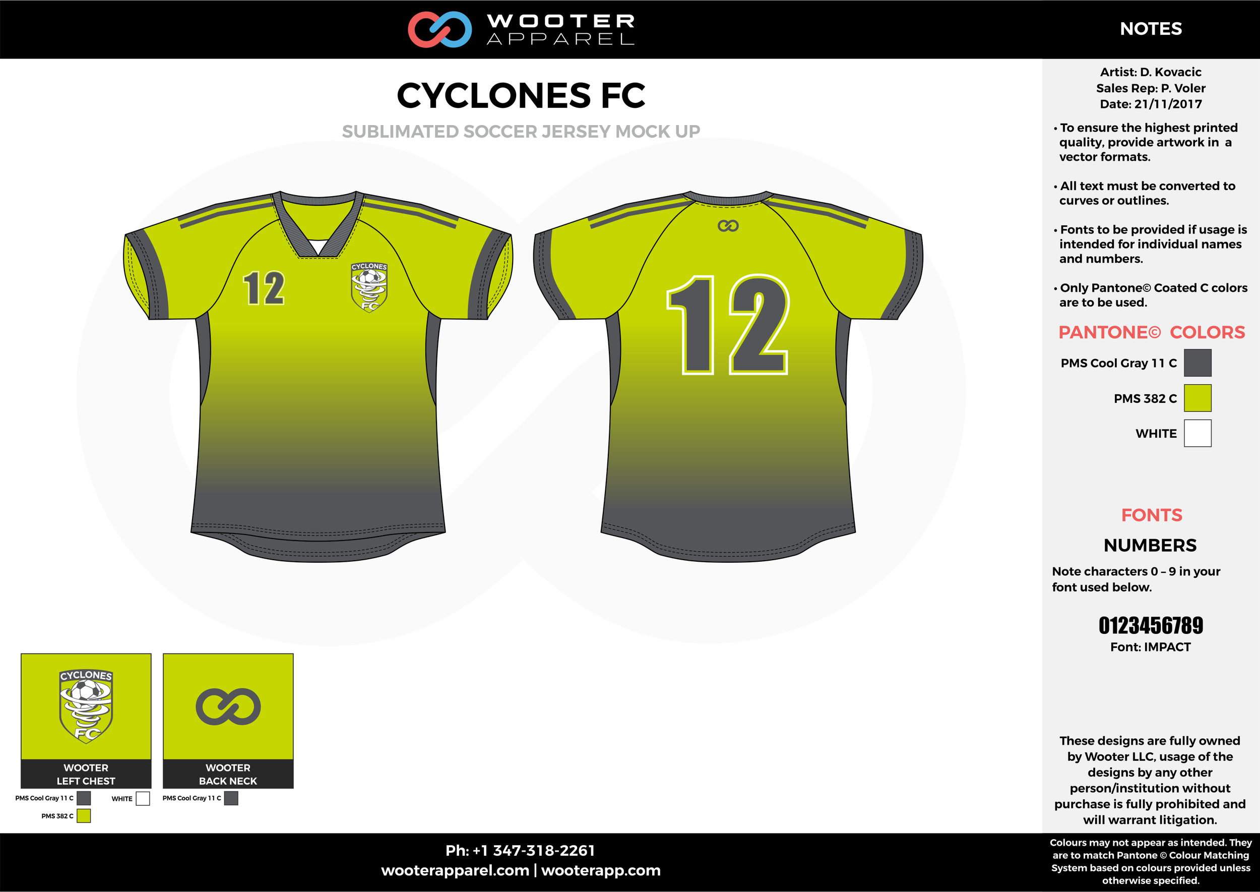 CYCLONES FC apple green gray custom sublimated soccer uniform jersey shirt