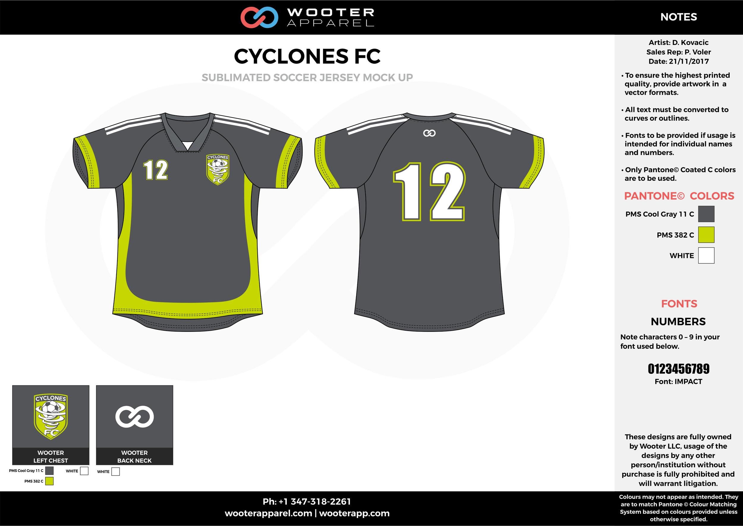 CYCLONES FC gray apple green white custom sublimated soccer uniform jersey shirt