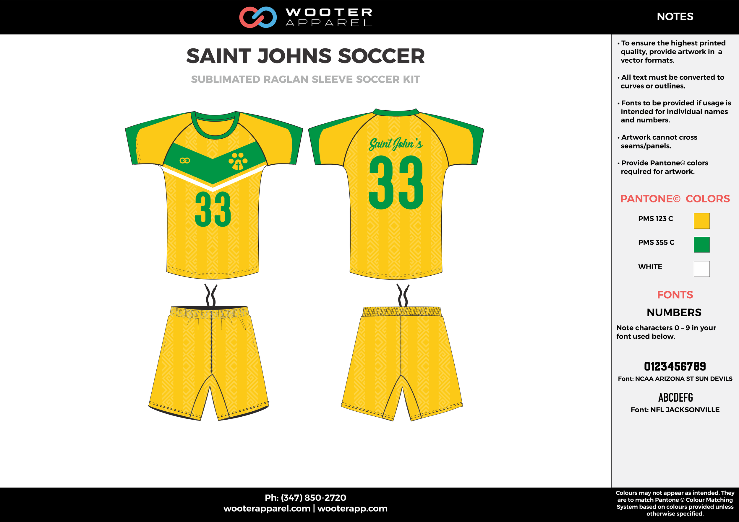 SAINT JOHNS yellow green white custom sublimated soccer uniform jersey shirt shorts