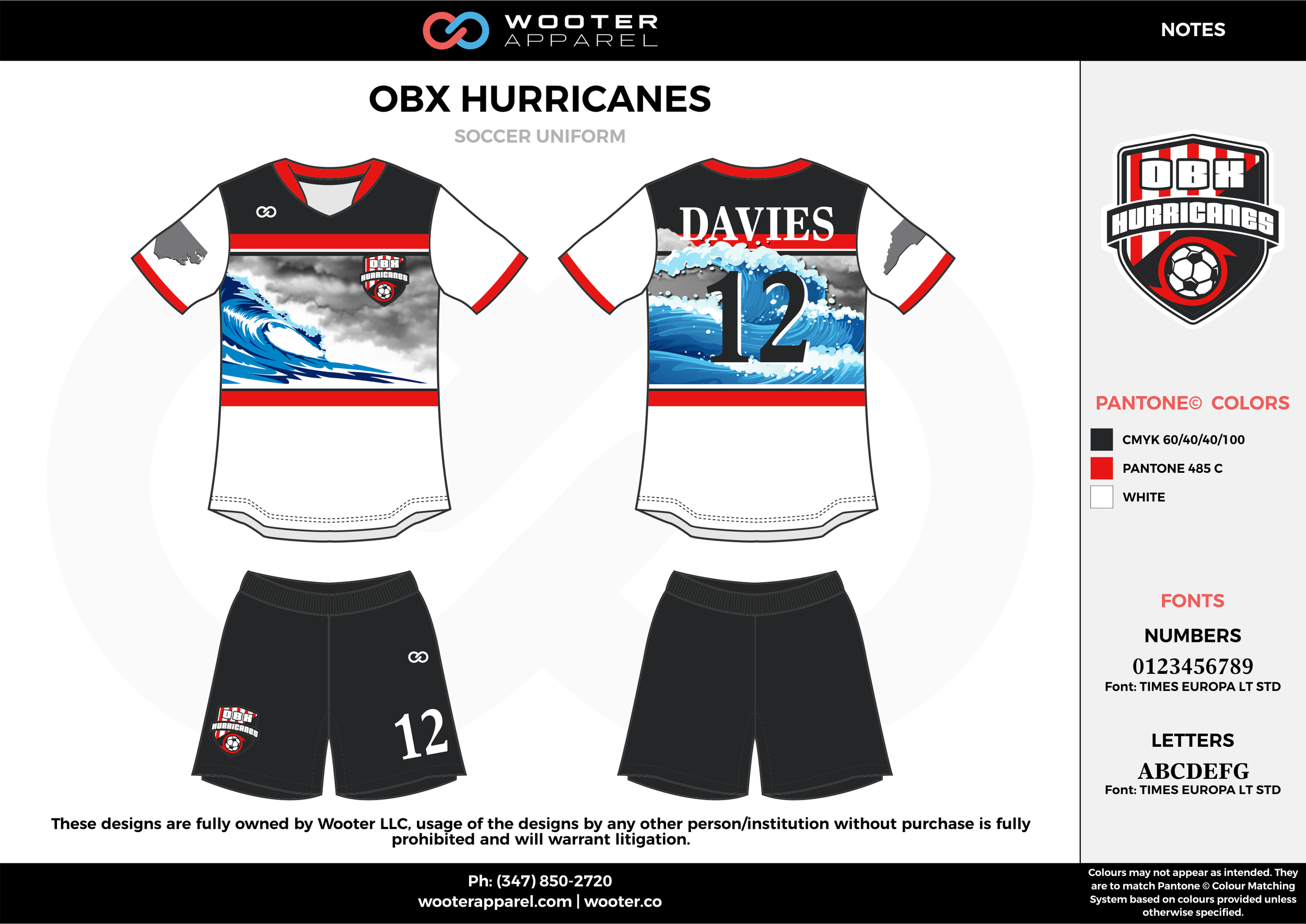 OBX HURRICANES black red white custom sublimated soccer uniform jersey shirt shorts