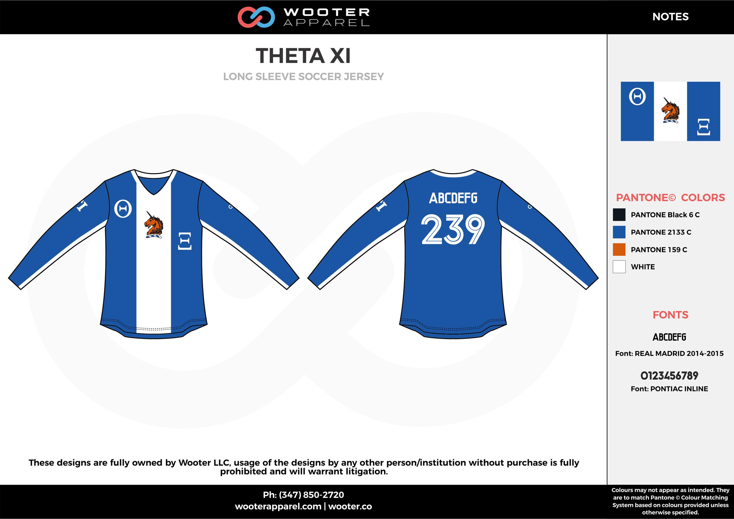 THETA XI blue white custom sublimated soccer uniform jersey shirt