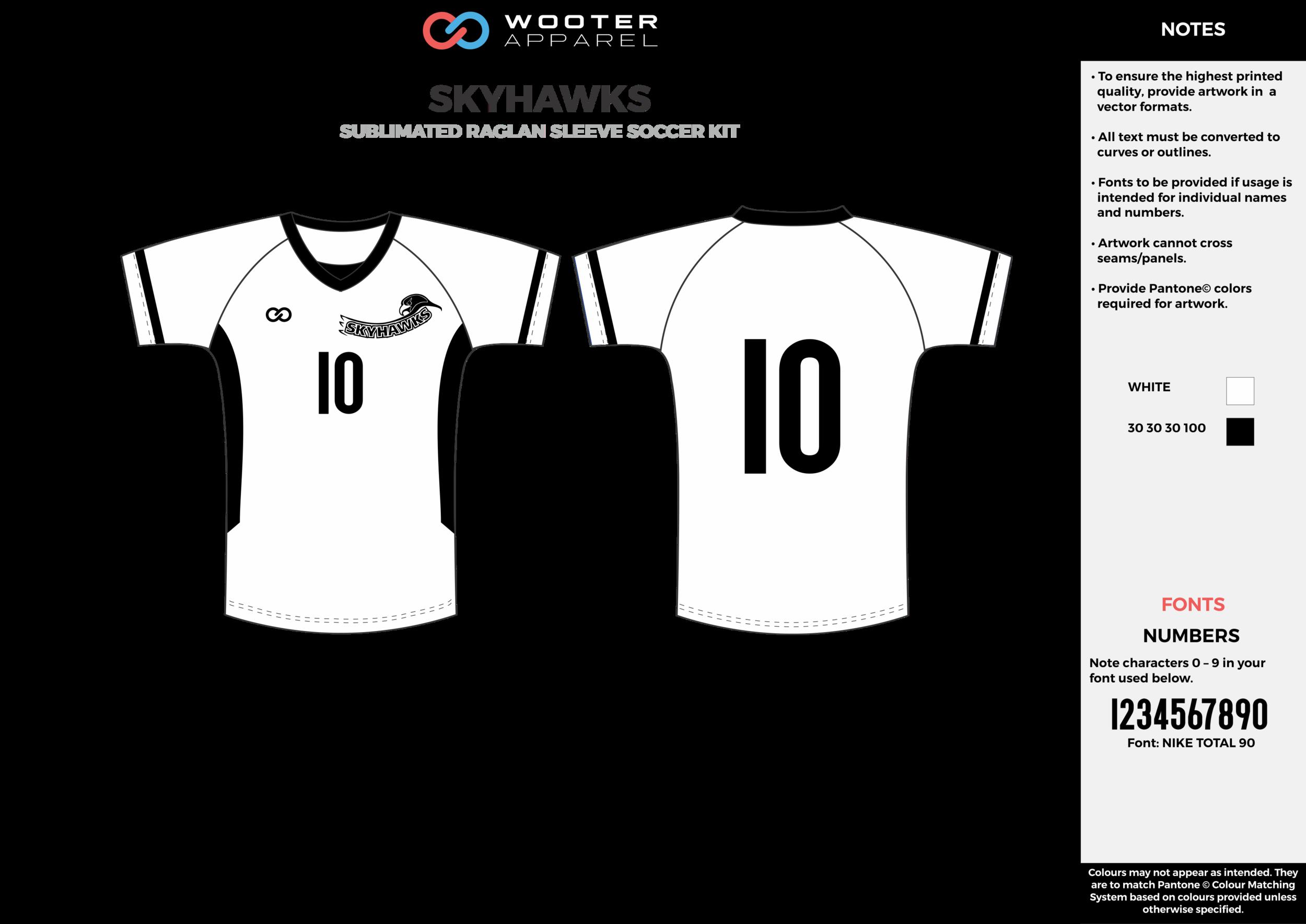 SKYHAWKS white black custom sublimated soccer uniform jersey shirt